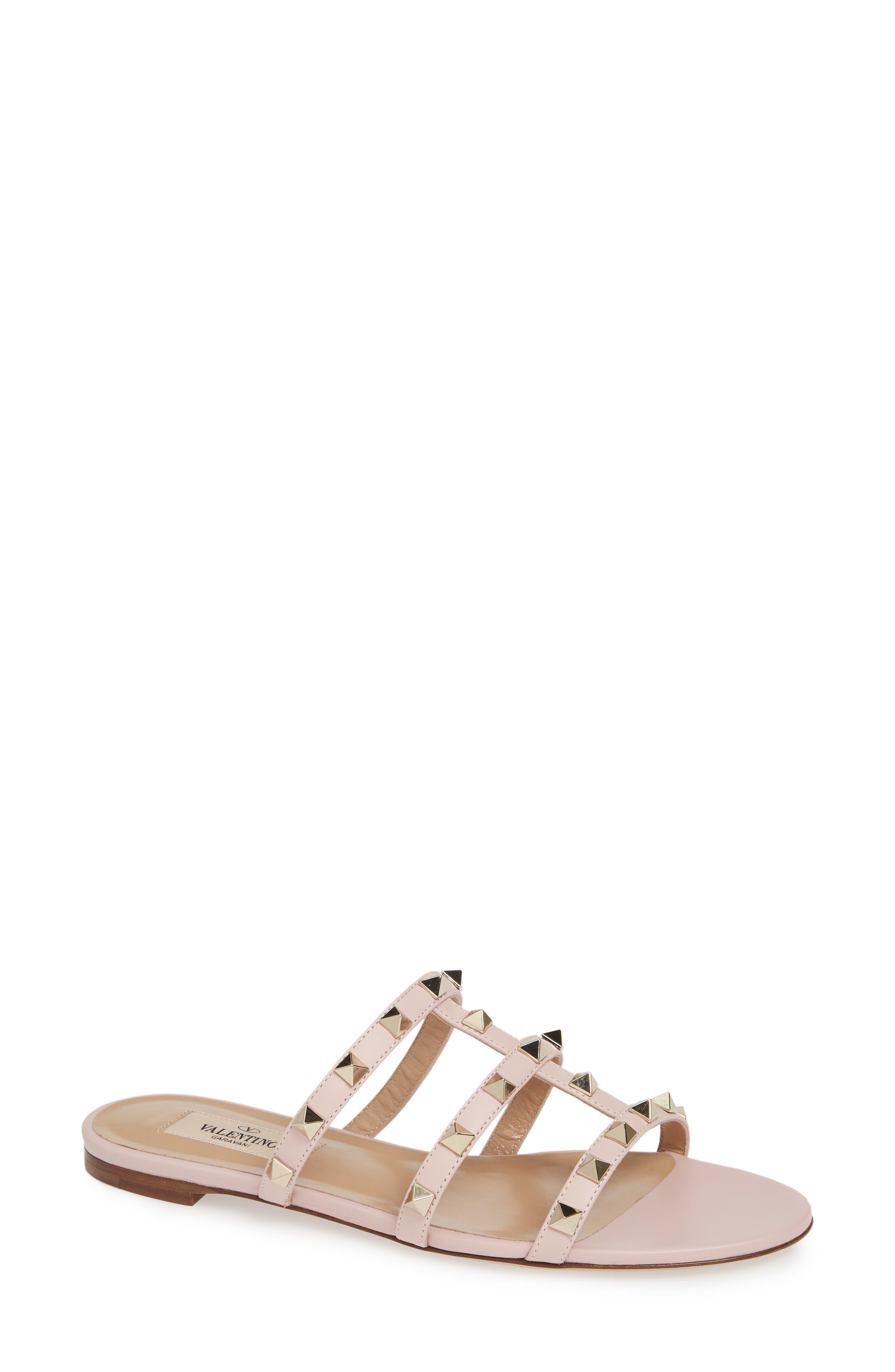 Rockstud Slide Sandal,                         Main,                         color, WATER ROSE