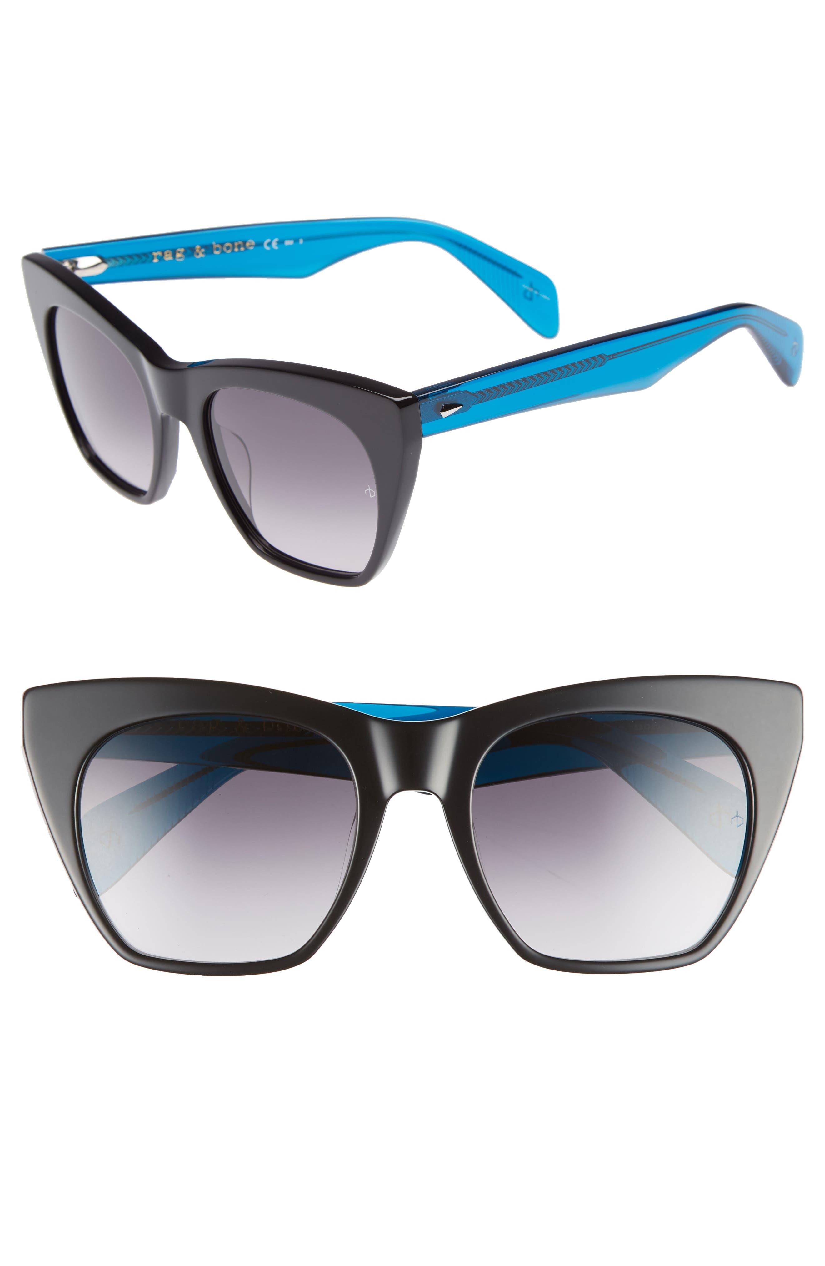 52mm Cat Eye Sunglasses,                             Main thumbnail 1, color,                             BLACK/ BLUE