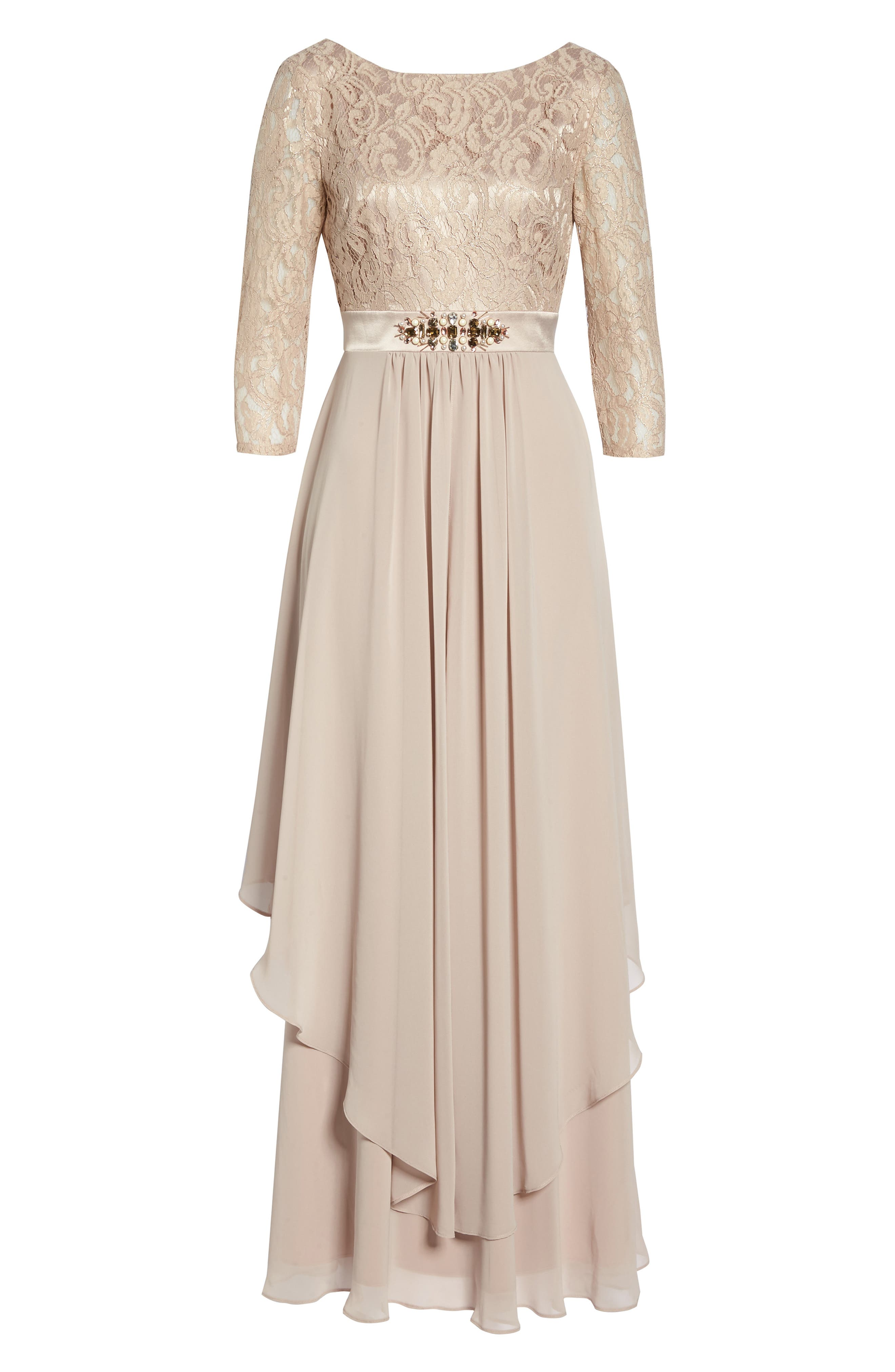 Embellished Lace & Chiffon Gown,                             Alternate thumbnail 7, color,                             256