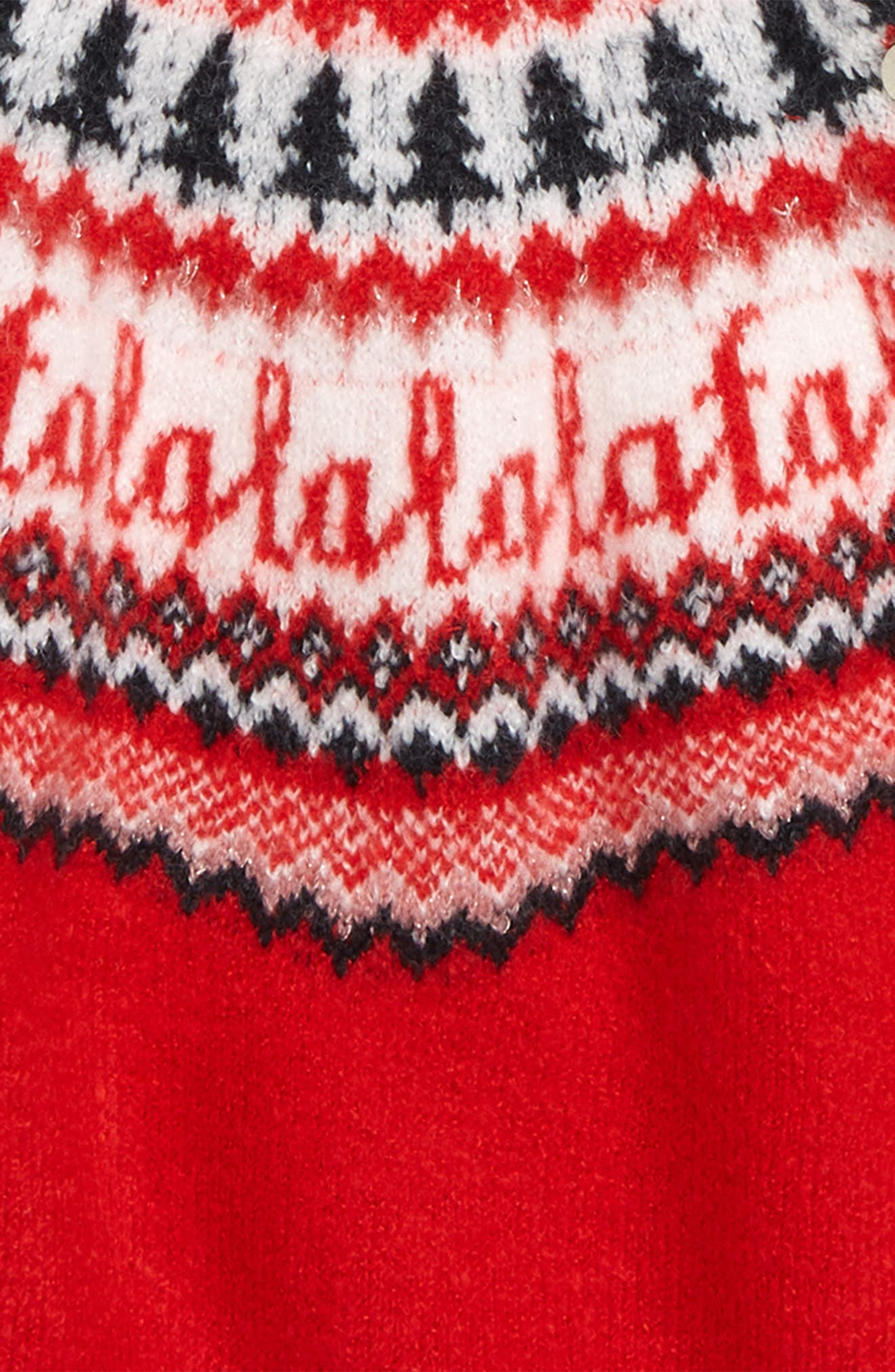 Holiday Sweater Dress,                             Alternate thumbnail 3, color,                             RED PEPPER NORDIC HOLIDAY