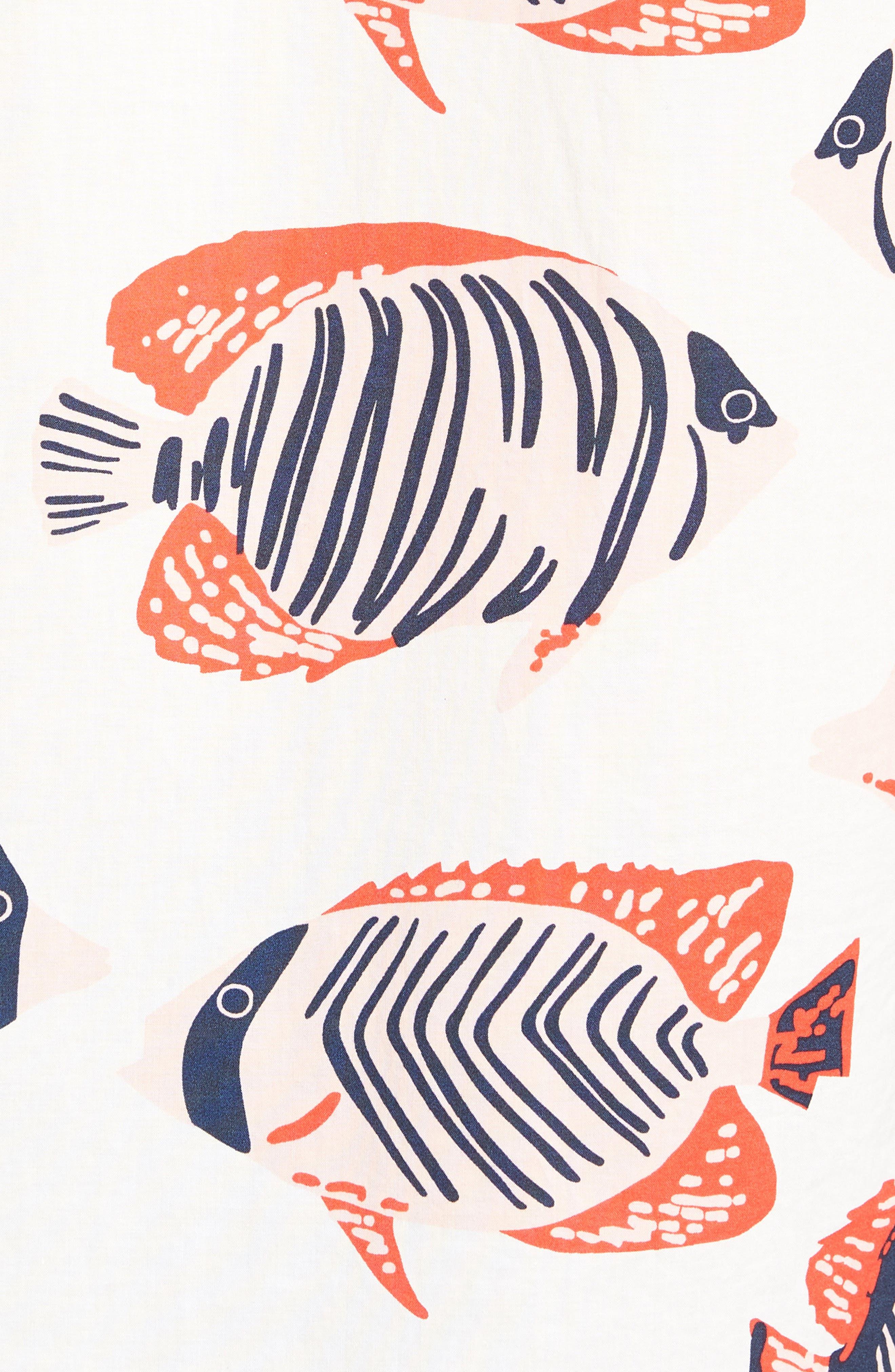 Riviera Slim Fit Fish Print Sport Shirt,                             Alternate thumbnail 5, color,                             100