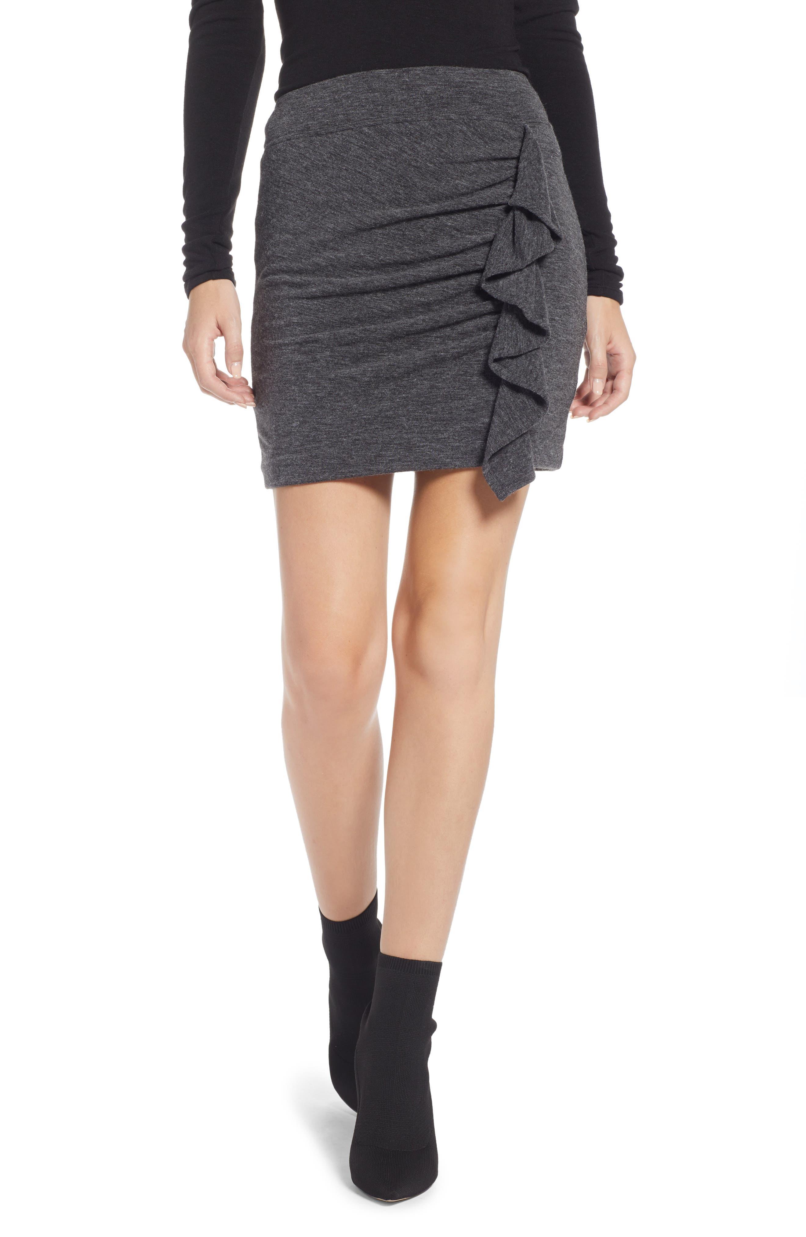 Something Navy Gathered Ruffle Miniskirt, Grey