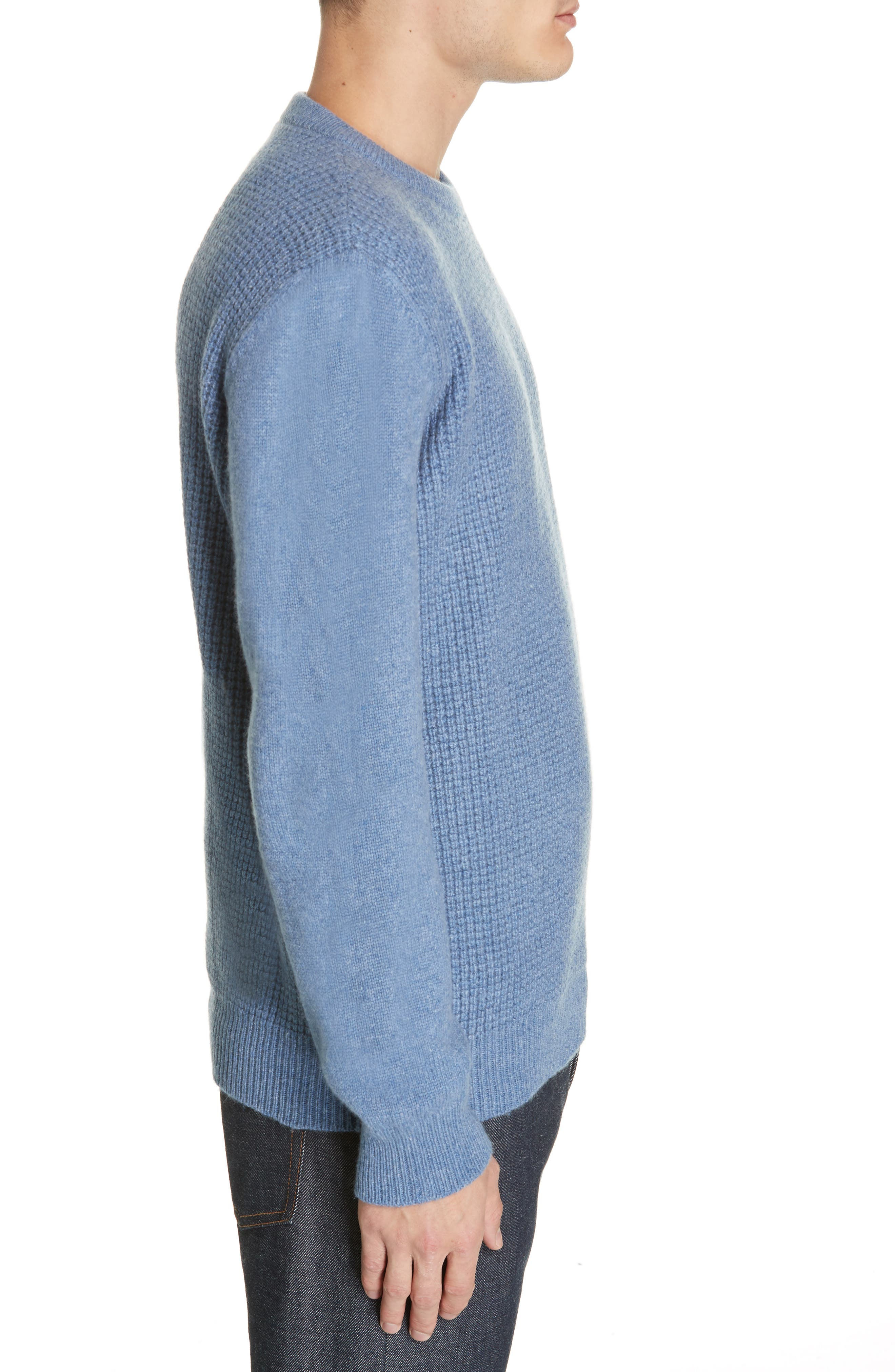 Waffle Knit Cashmere Crewneck Sweater,                             Alternate thumbnail 3, color,                             LIGHT BLUE