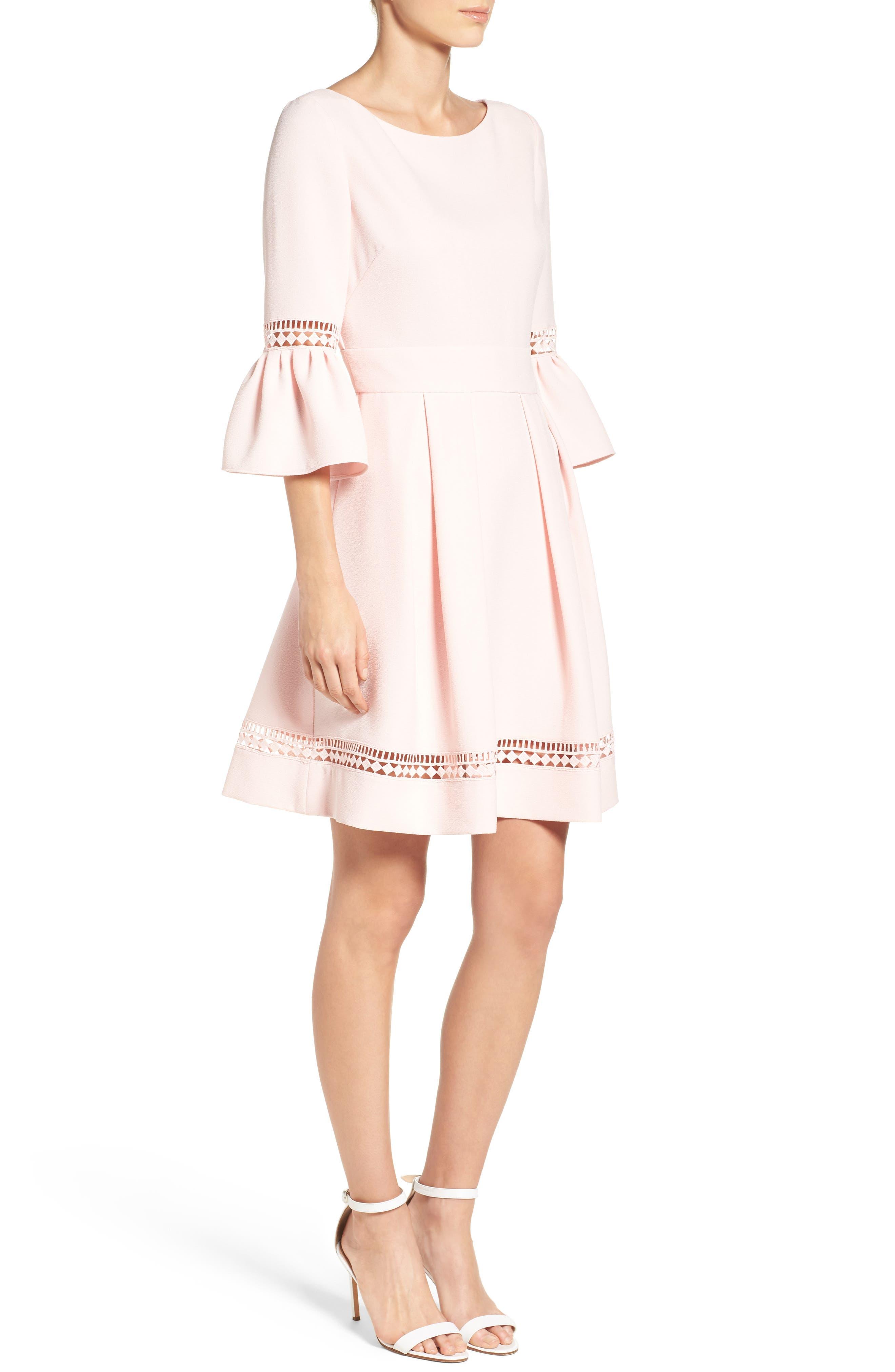 ELIZA J,                             Bell Sleeve Fit & Flare Dress,                             Alternate thumbnail 3, color,                             BLUSH