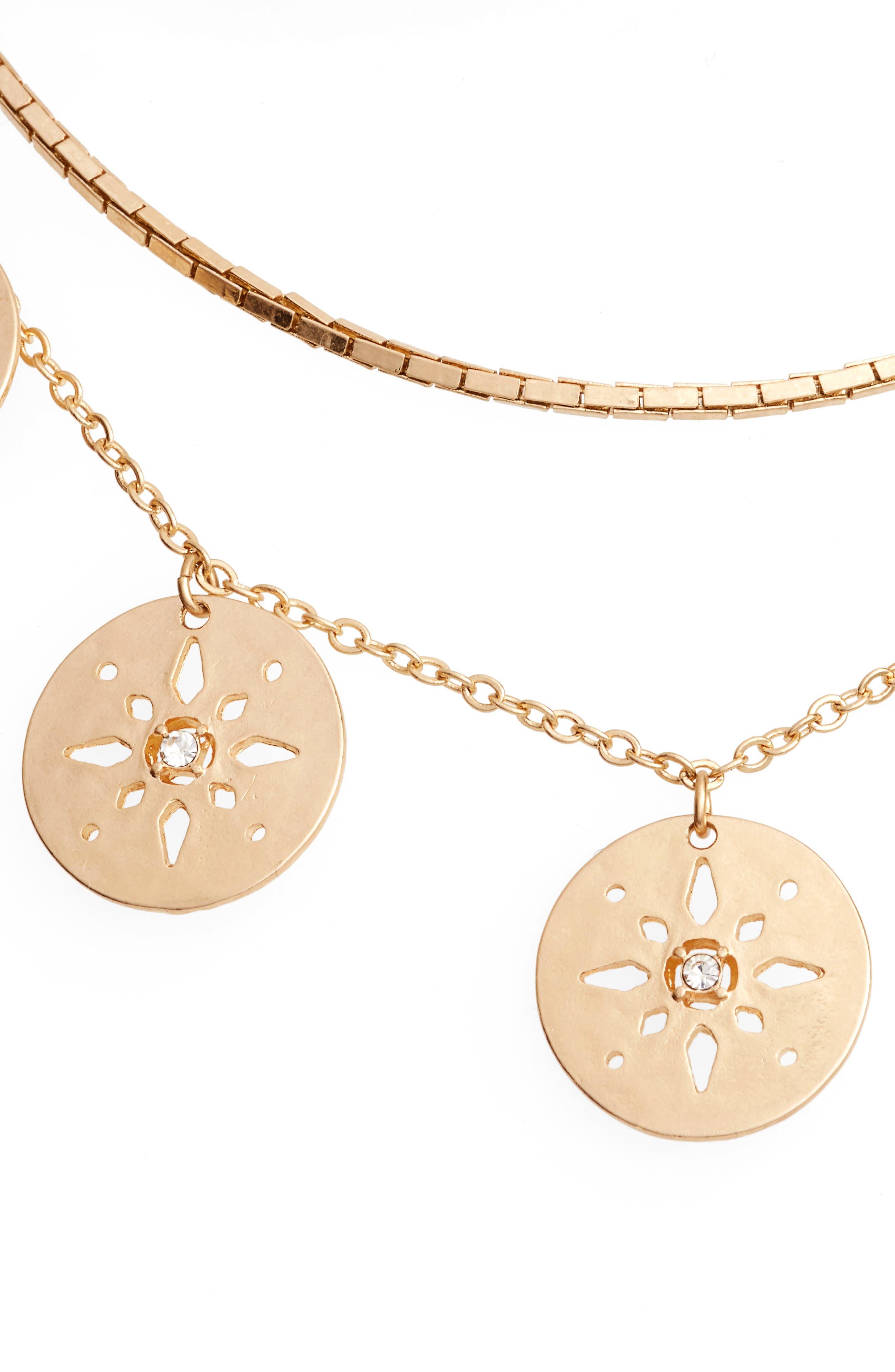 Pierced Disc Frontal Necklace,                         Main,                         color, 710
