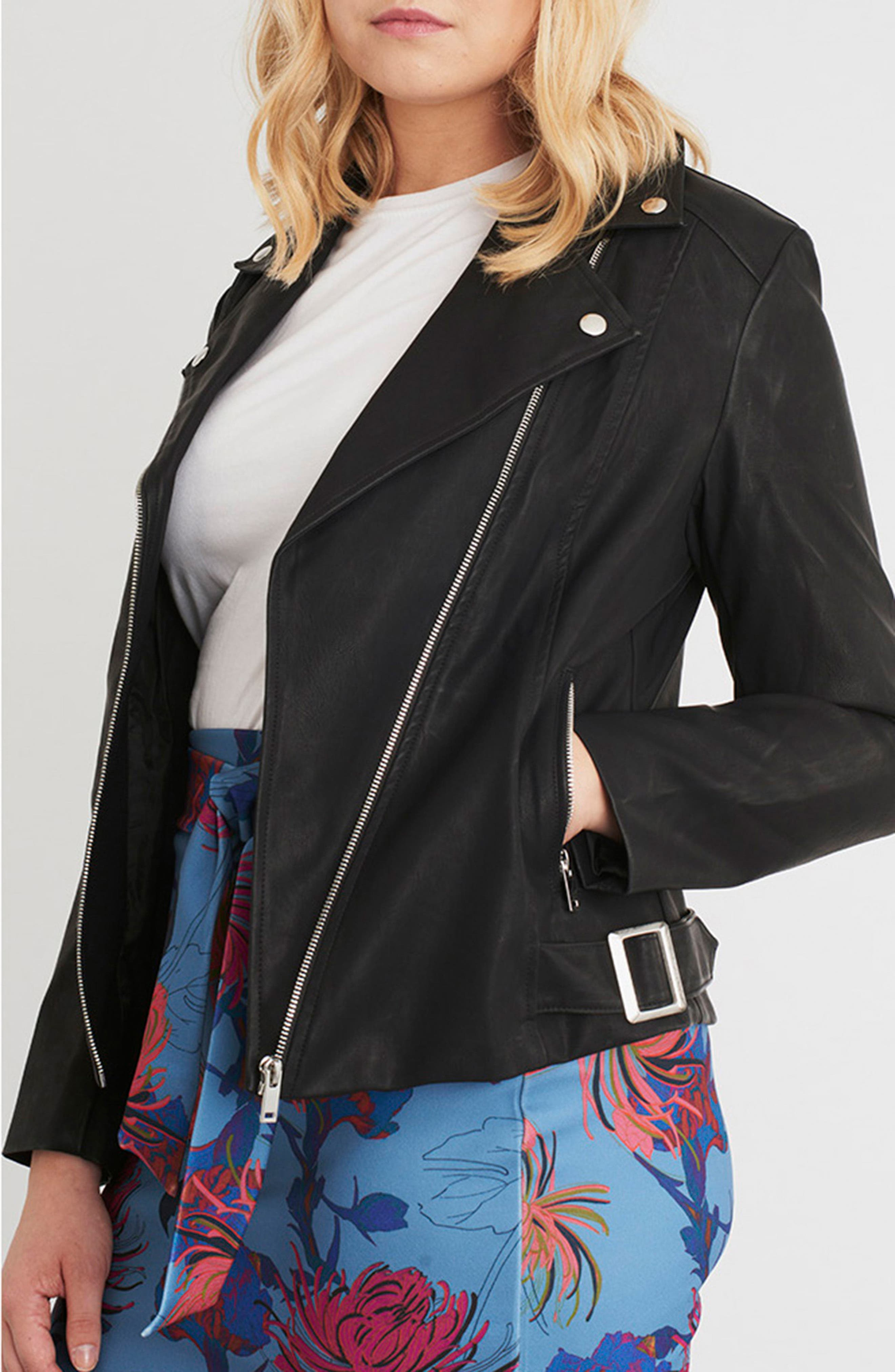 Faux Leather Moto Jacket,                             Alternate thumbnail 7, color,                             001