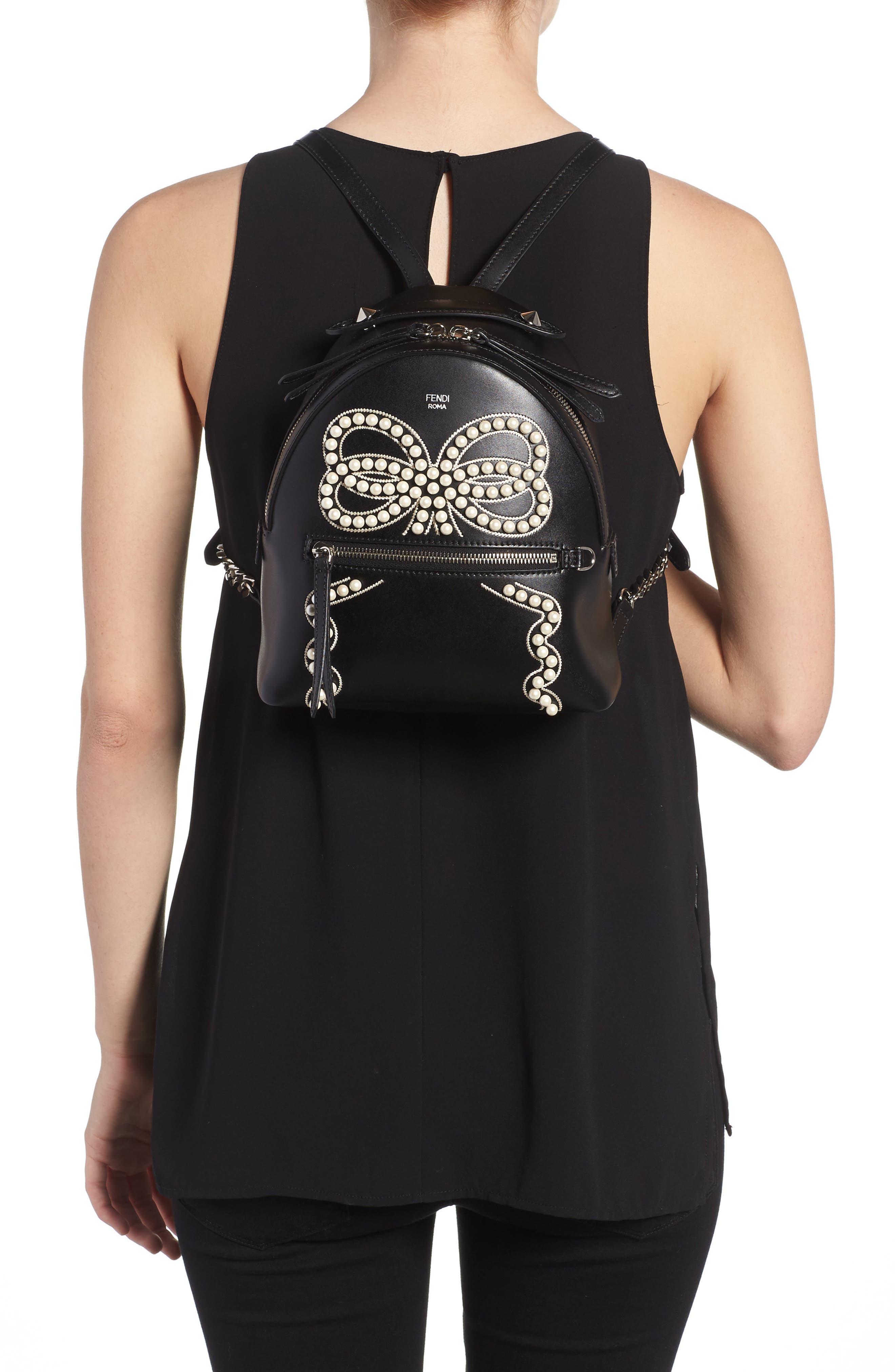 Mini Imitation Pearl Bow Leather Backpack,                             Alternate thumbnail 2, color,                             004