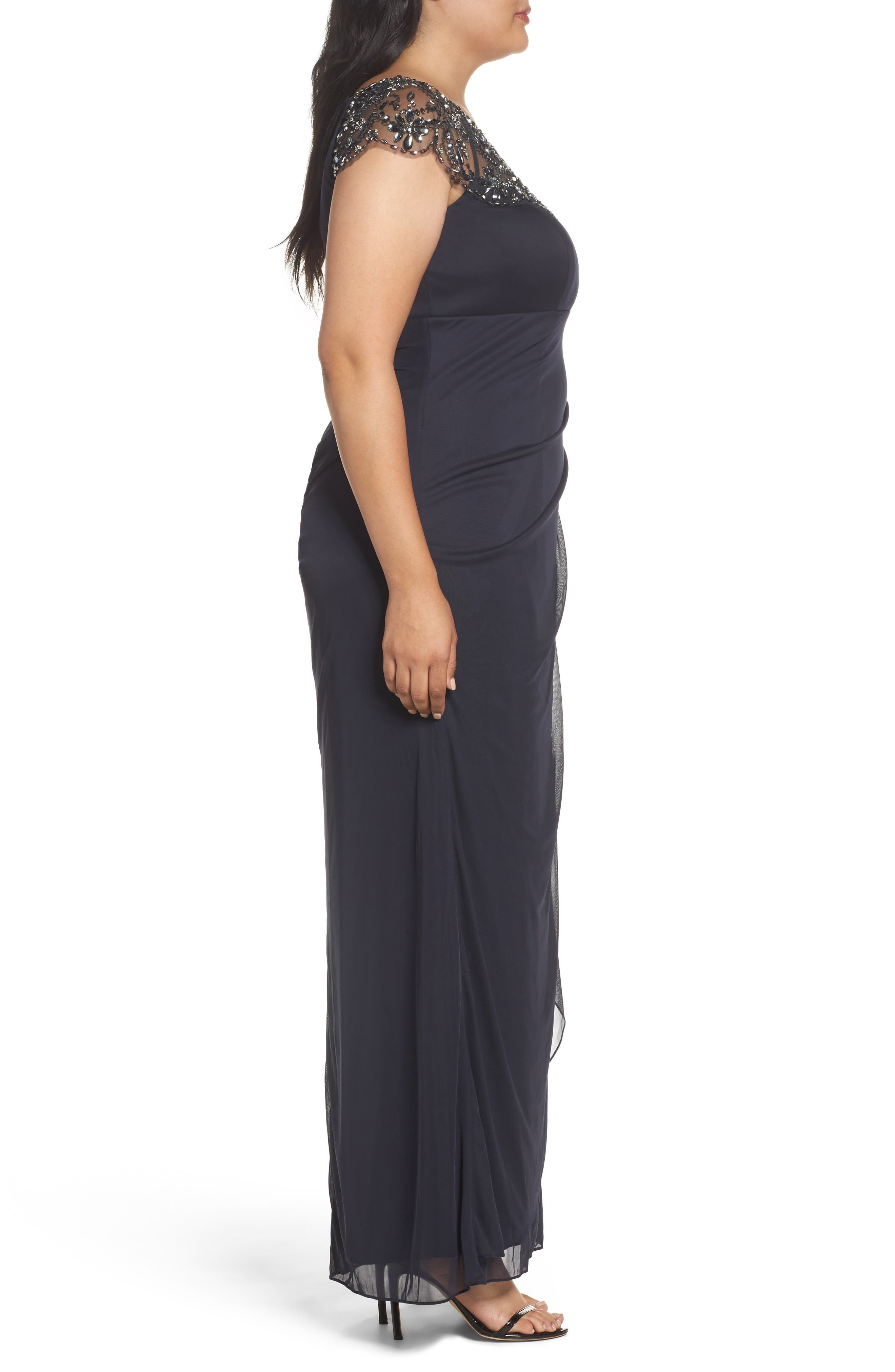 Embellished Jersey Gown,                             Alternate thumbnail 3, color,                             021