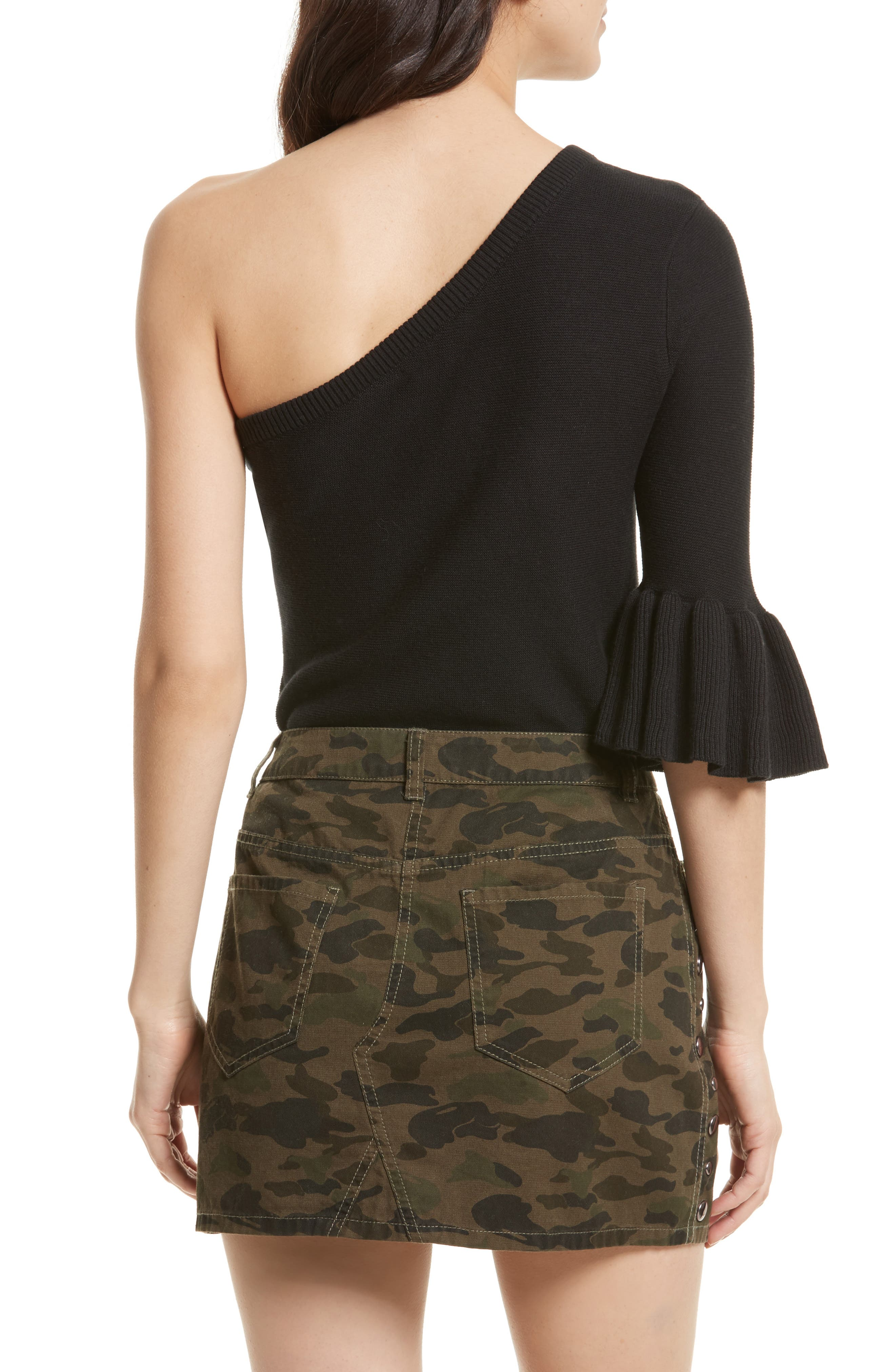 Wappo One-Shoulder Sweater,                             Alternate thumbnail 2, color,                             001