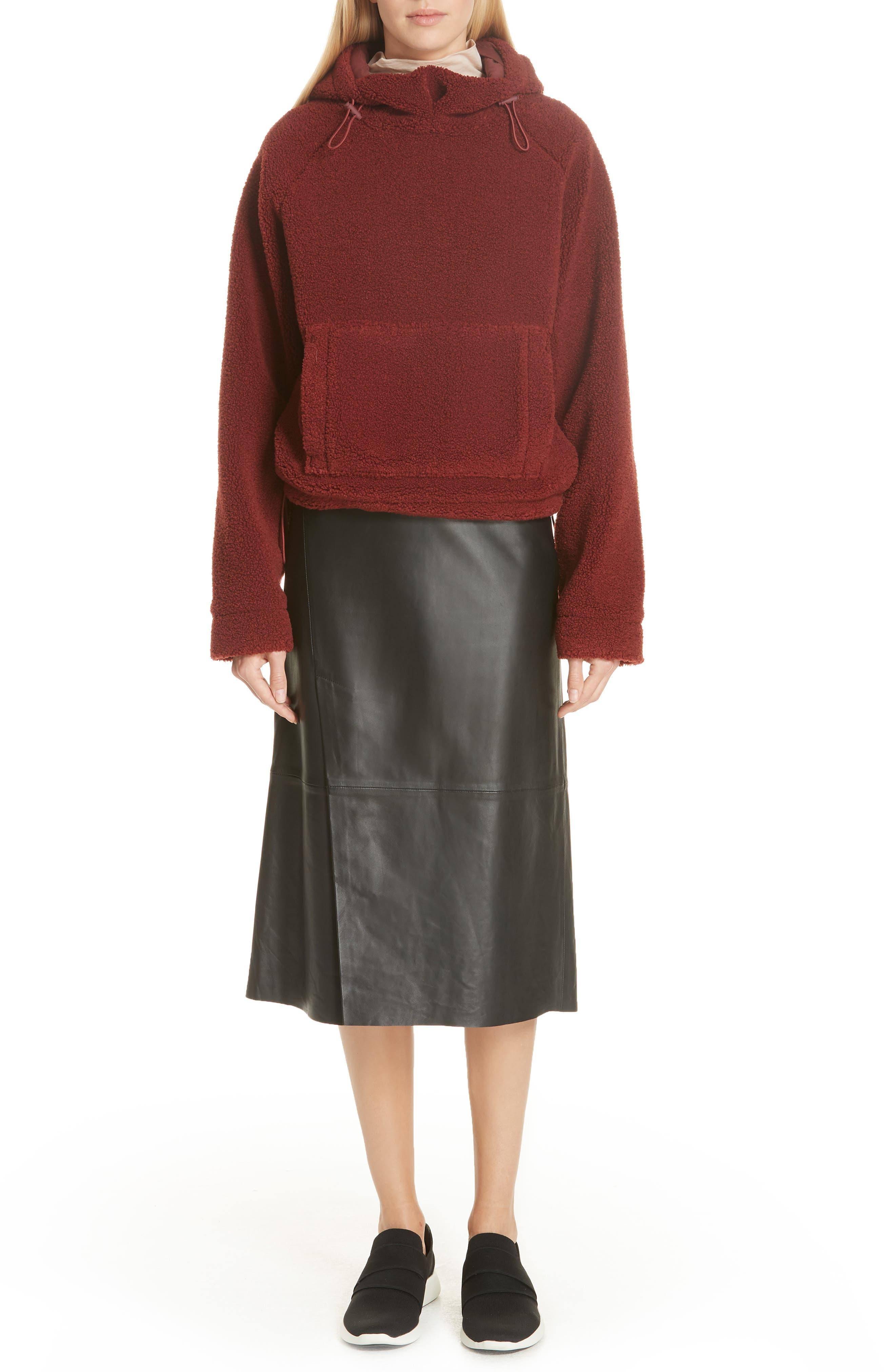 Slit Leather Midi Skirt in Black