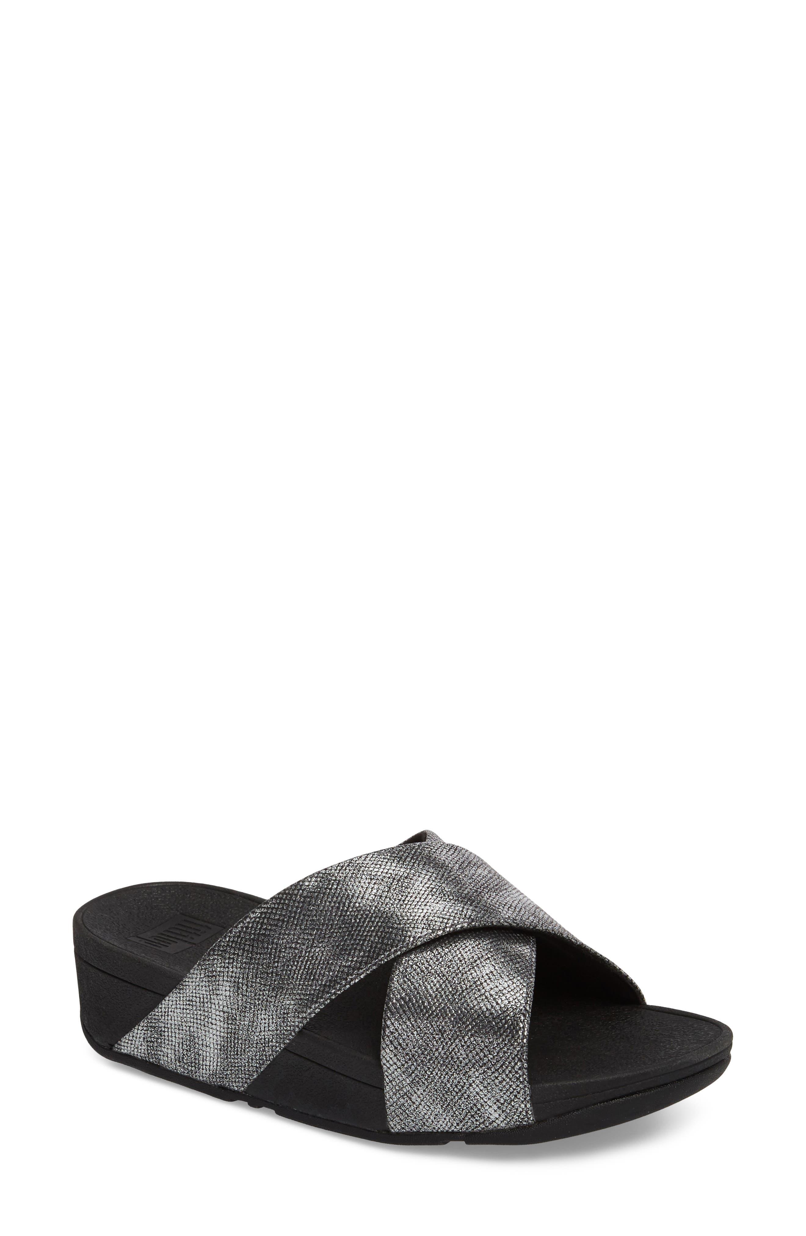 Lulu Cross Slide Sandal,                         Main,                         color, BLACK SHIMMER PRINT