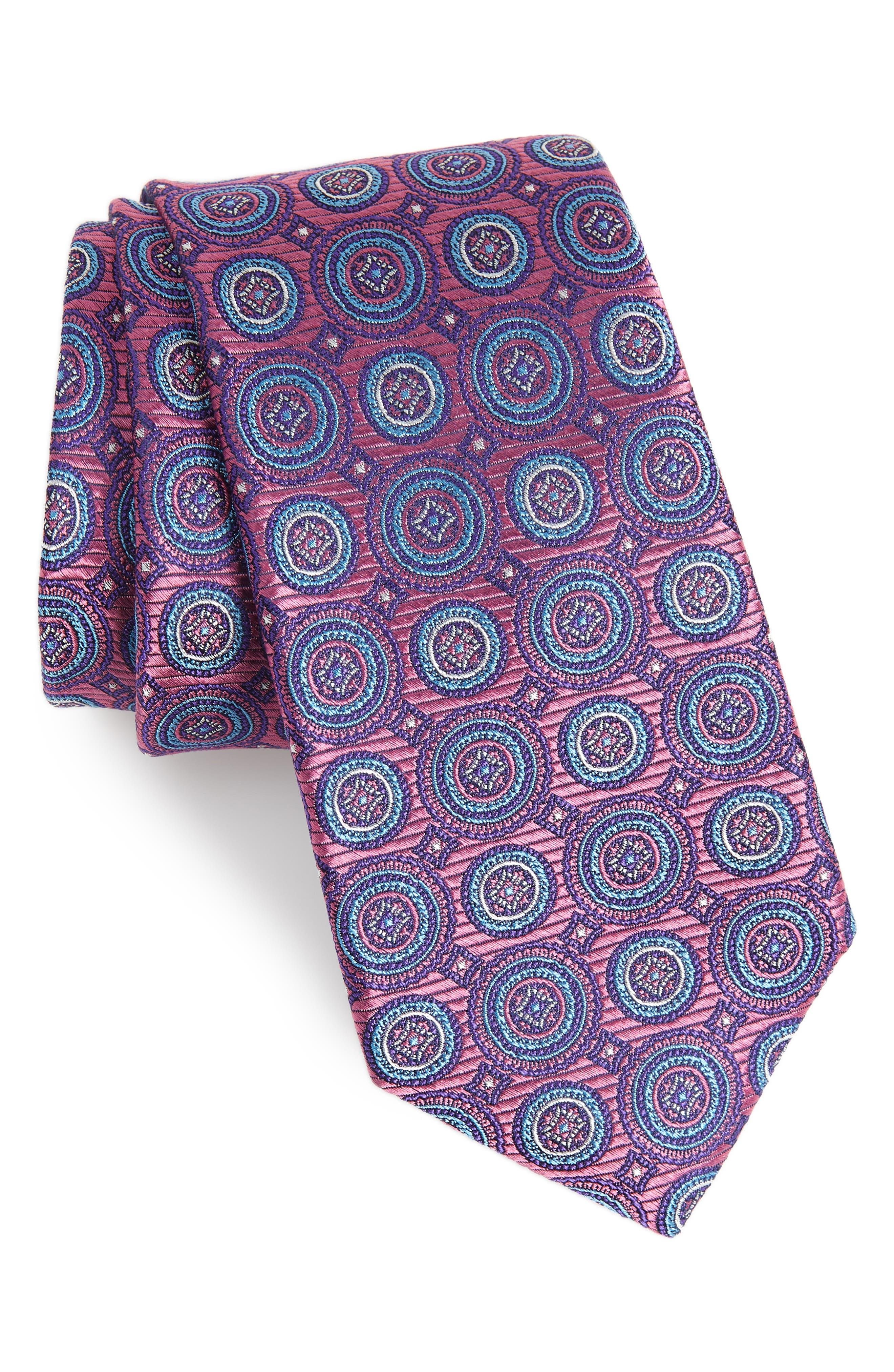 Santa Lucia Circles Silk Tie,                             Main thumbnail 1, color,                             510