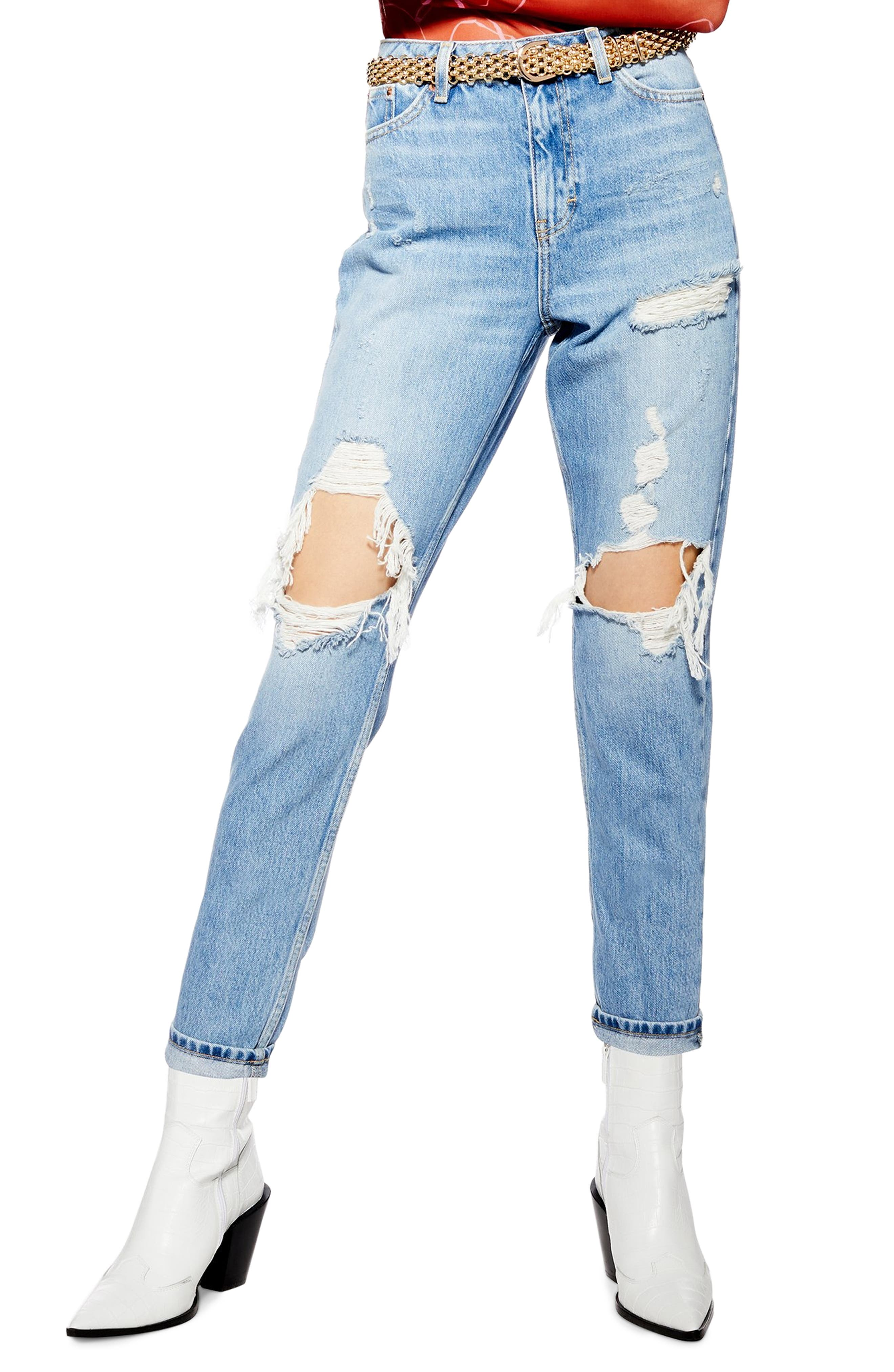 TOPSHOP Destroyed Mom Jeans, Main, color, BLEACH