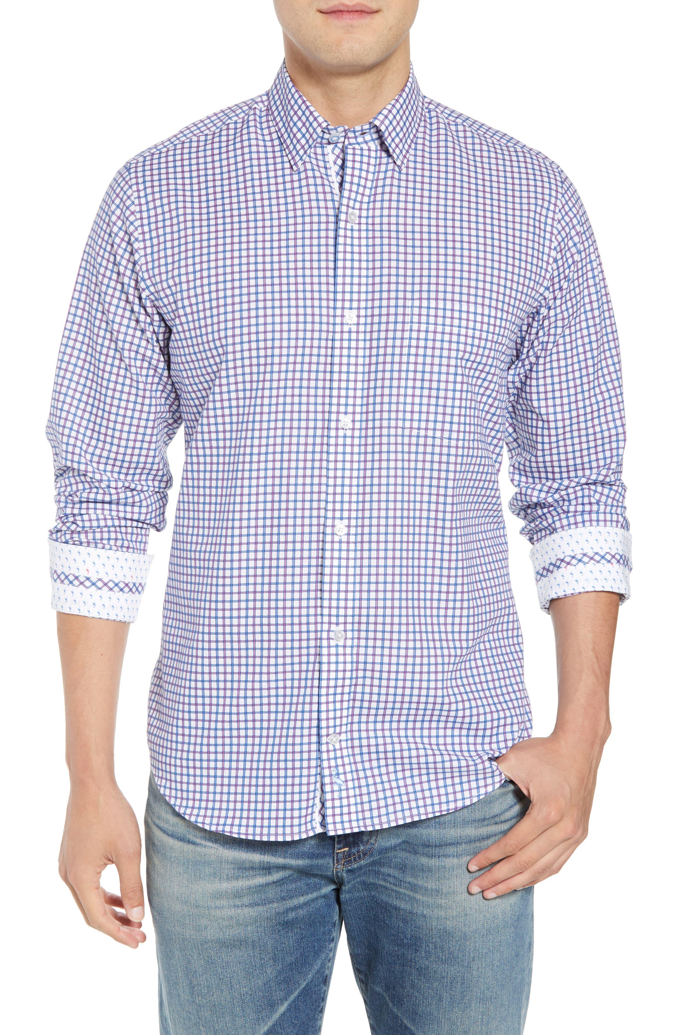 Beck Regular Fit Windowpane Sport Shirt,                         Main,                         color, 400