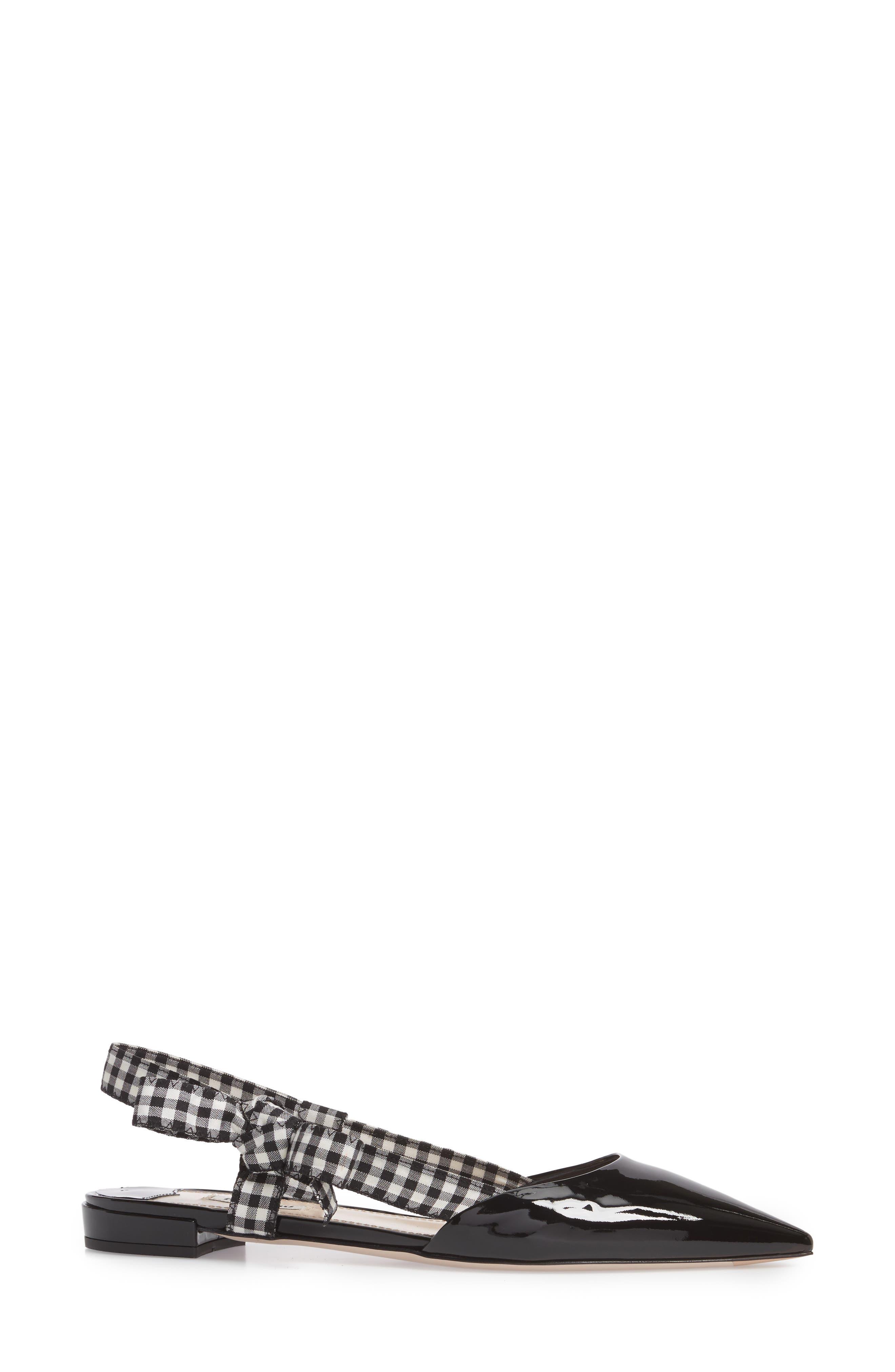 Slingback Bow Pointy Toe Flat,                             Alternate thumbnail 3, color,                             001