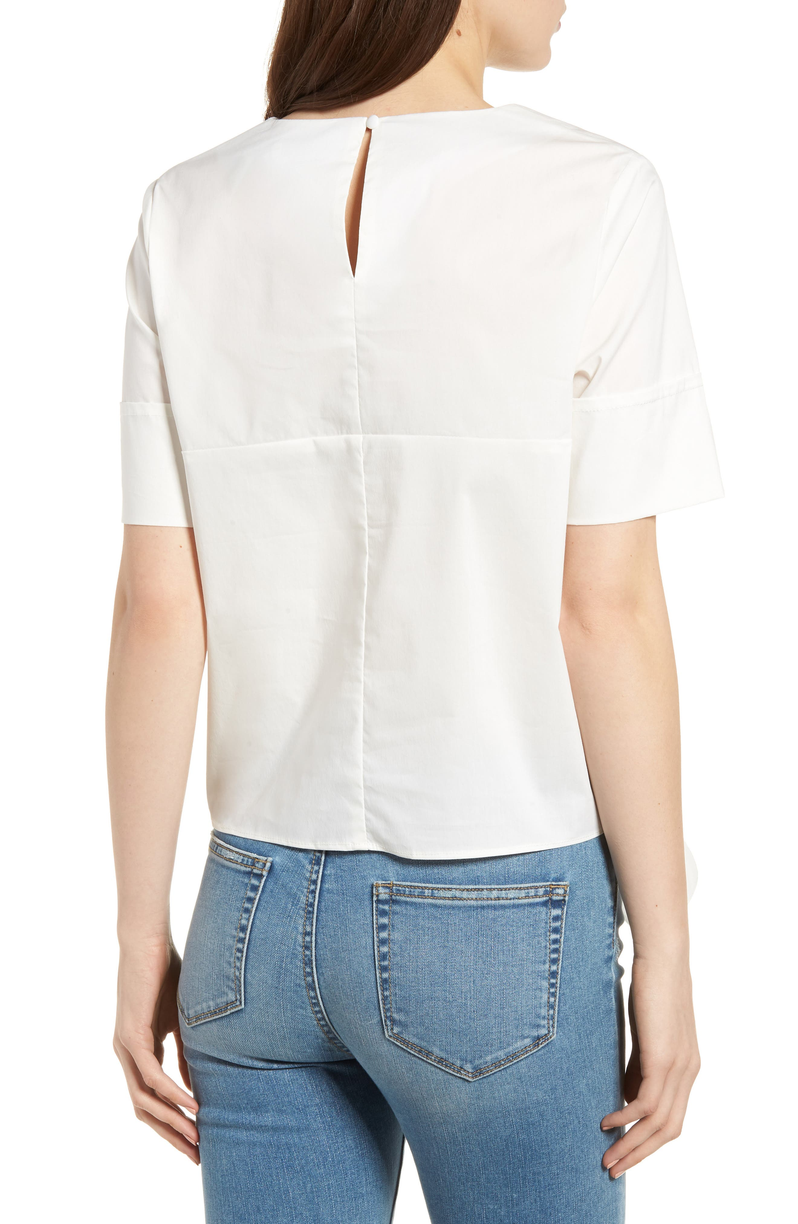 Bishop + Young Front Tie Blouse,                             Alternate thumbnail 2, color,                             WHITE
