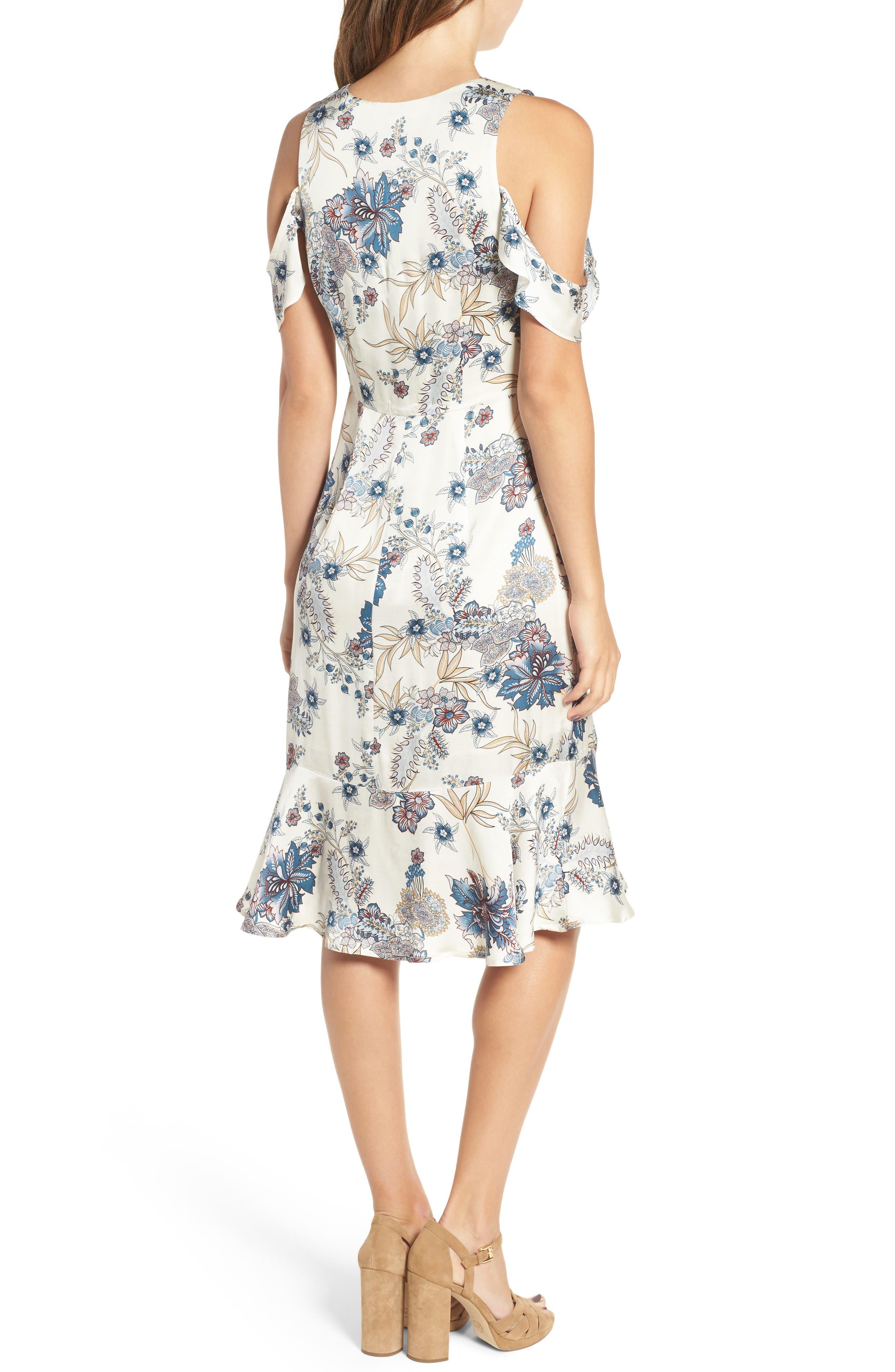 Print Cold Shoulder Dress,                             Alternate thumbnail 2, color,                             661