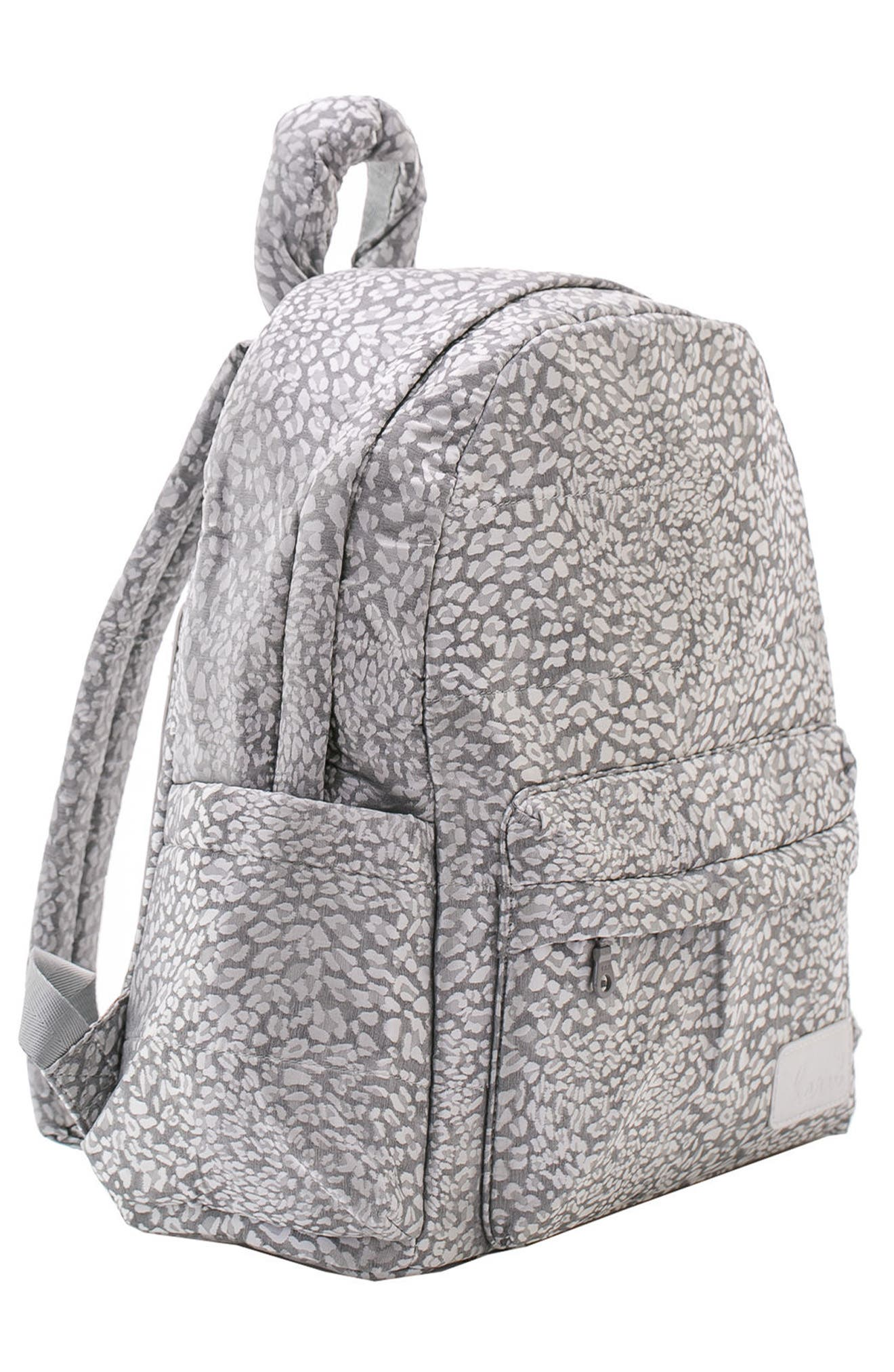 Print Water Repellent Diaper Backpack,                             Alternate thumbnail 5, color,                             SILVER LEOPARD