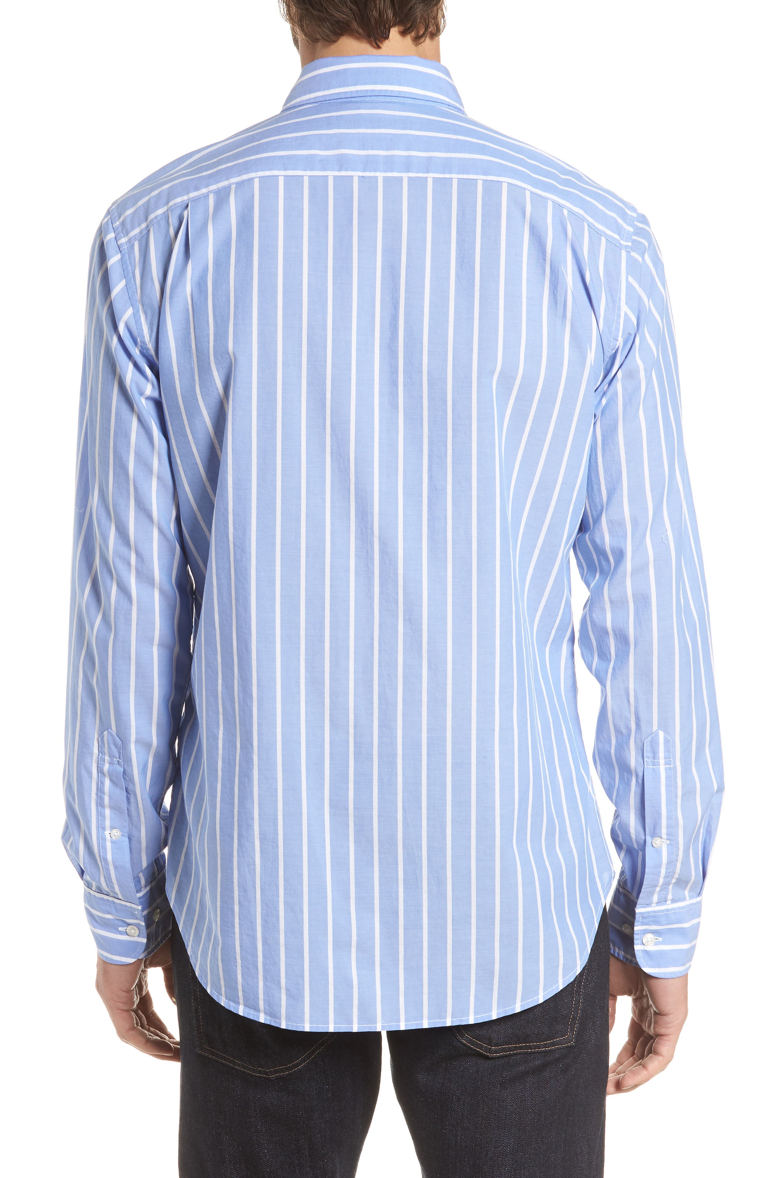 Summerweight Slim Fit Stripe Sport Shirt,                             Alternate thumbnail 3, color,                             100