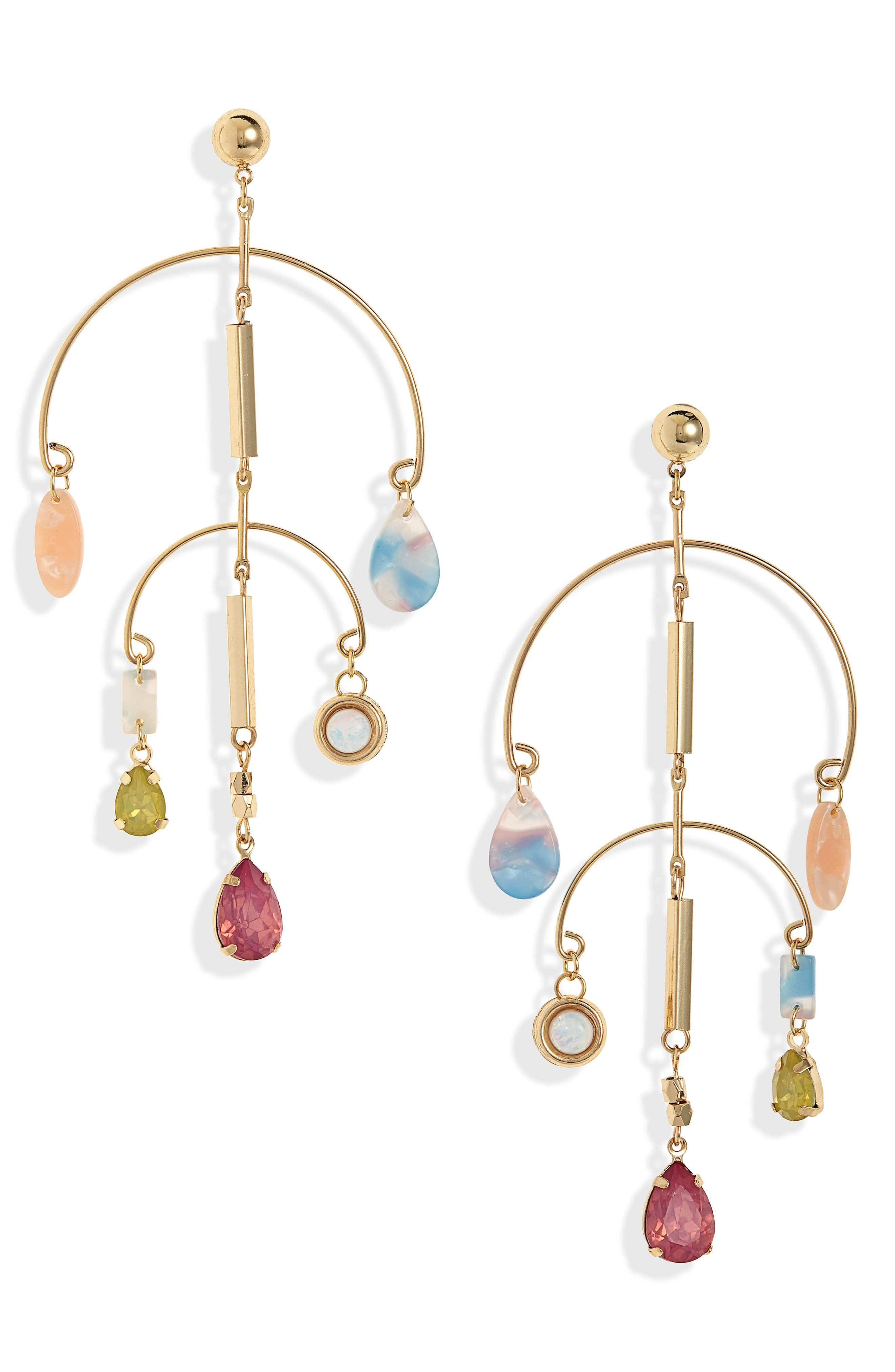 Mobile Drop Earrings,                             Main thumbnail 1, color,                             GOLD/ MULTI