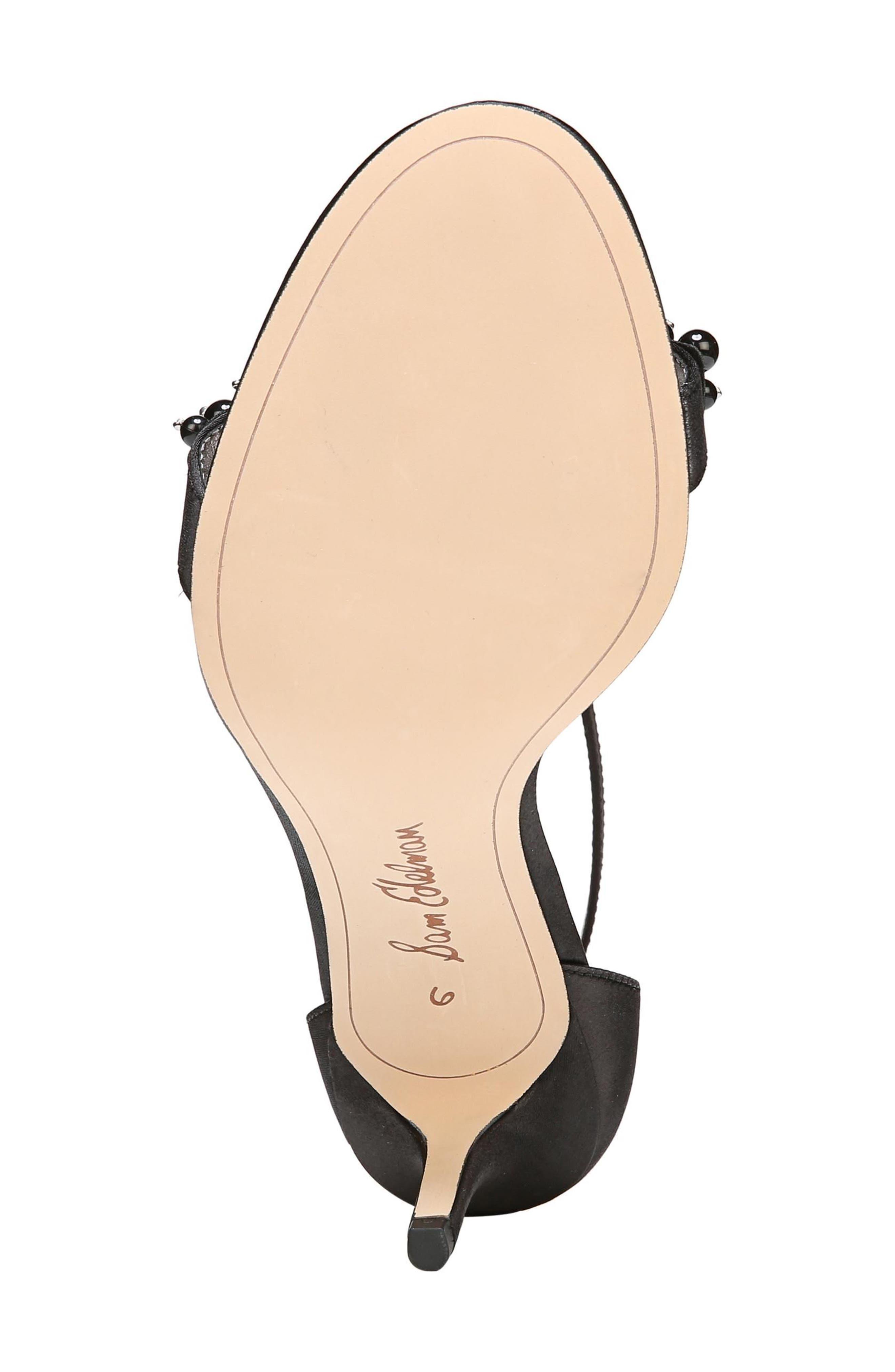 Platt Embellished Sandal,                             Alternate thumbnail 6, color,                             BLACK SATIN