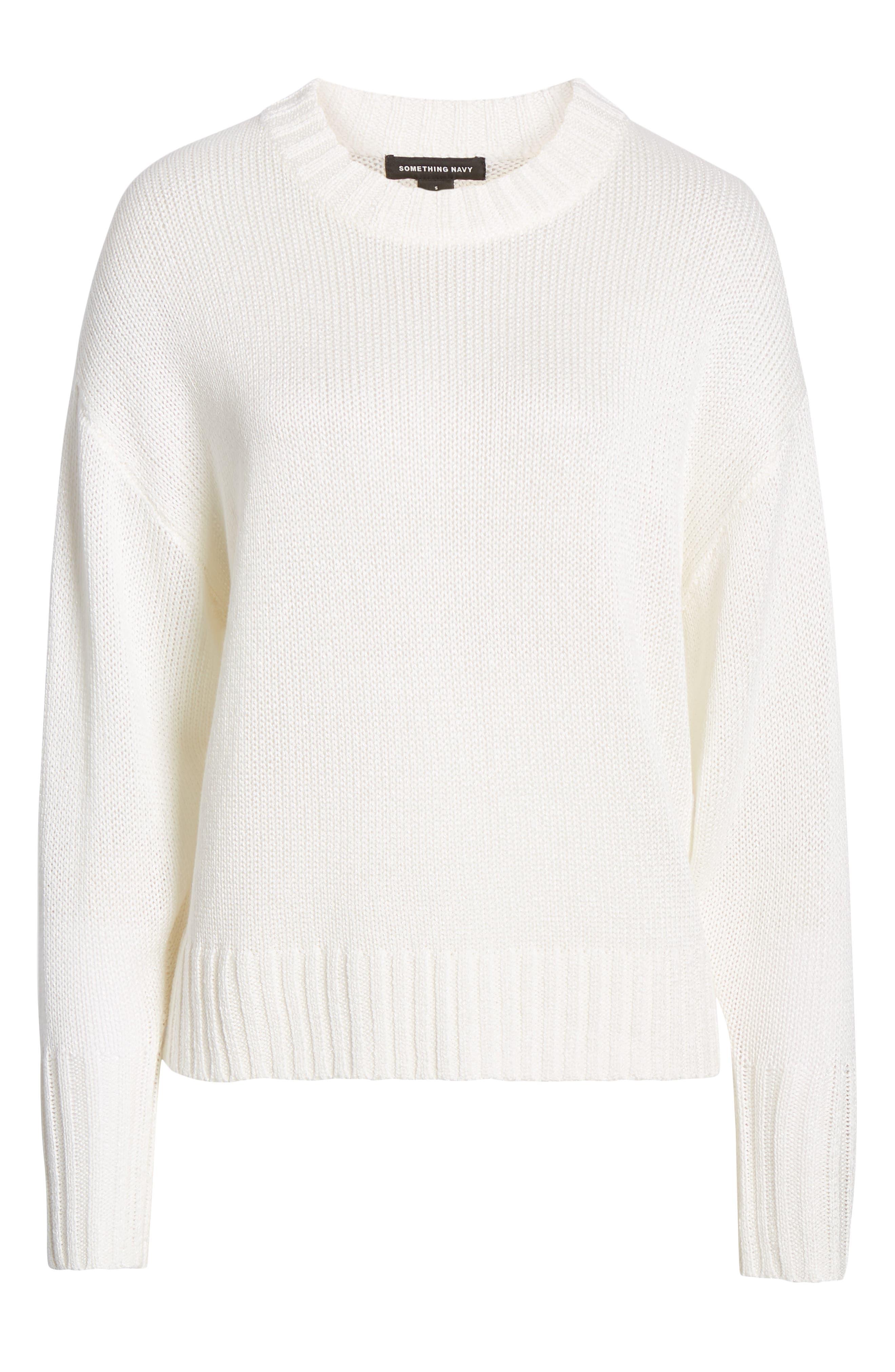 SOMETHING NAVY,                             Subtle Sheen Sweater,                             Alternate thumbnail 8, color,                             100