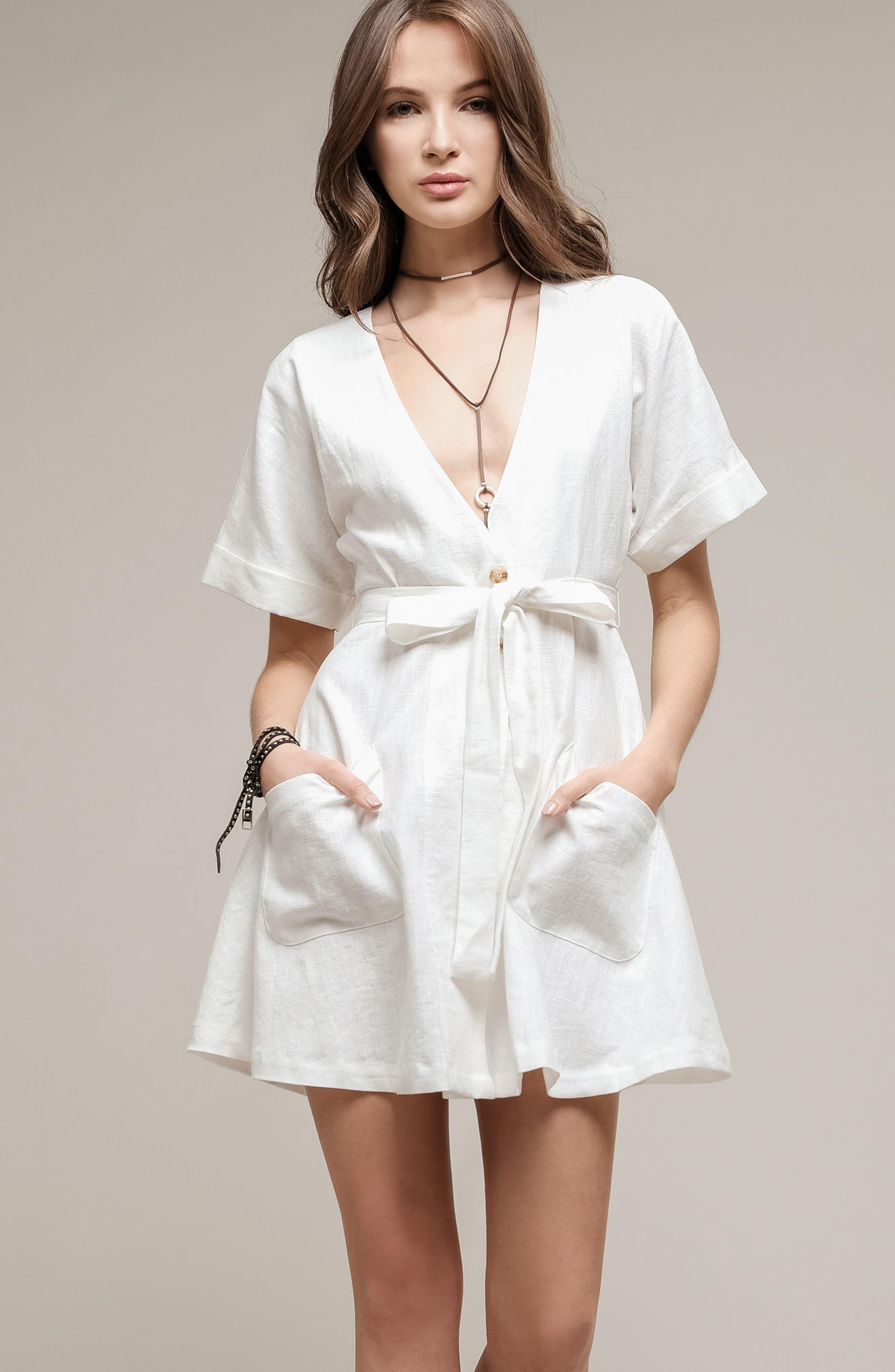 Linen & Cotton Button Front Dress,                             Alternate thumbnail 7, color,                             100