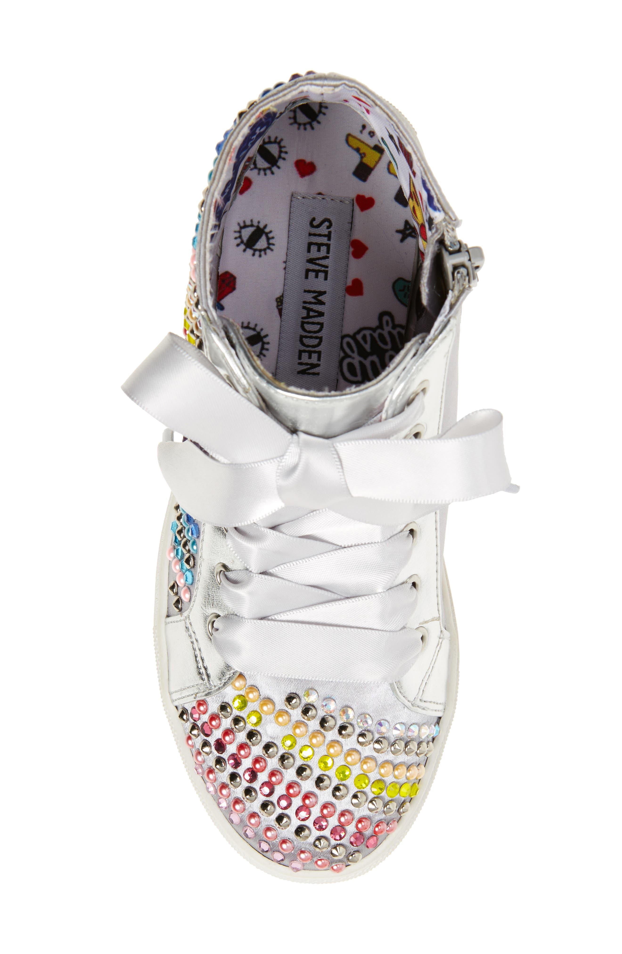 Rainey Rainbow Studded High Top Sneaker,                             Alternate thumbnail 5, color,                             040