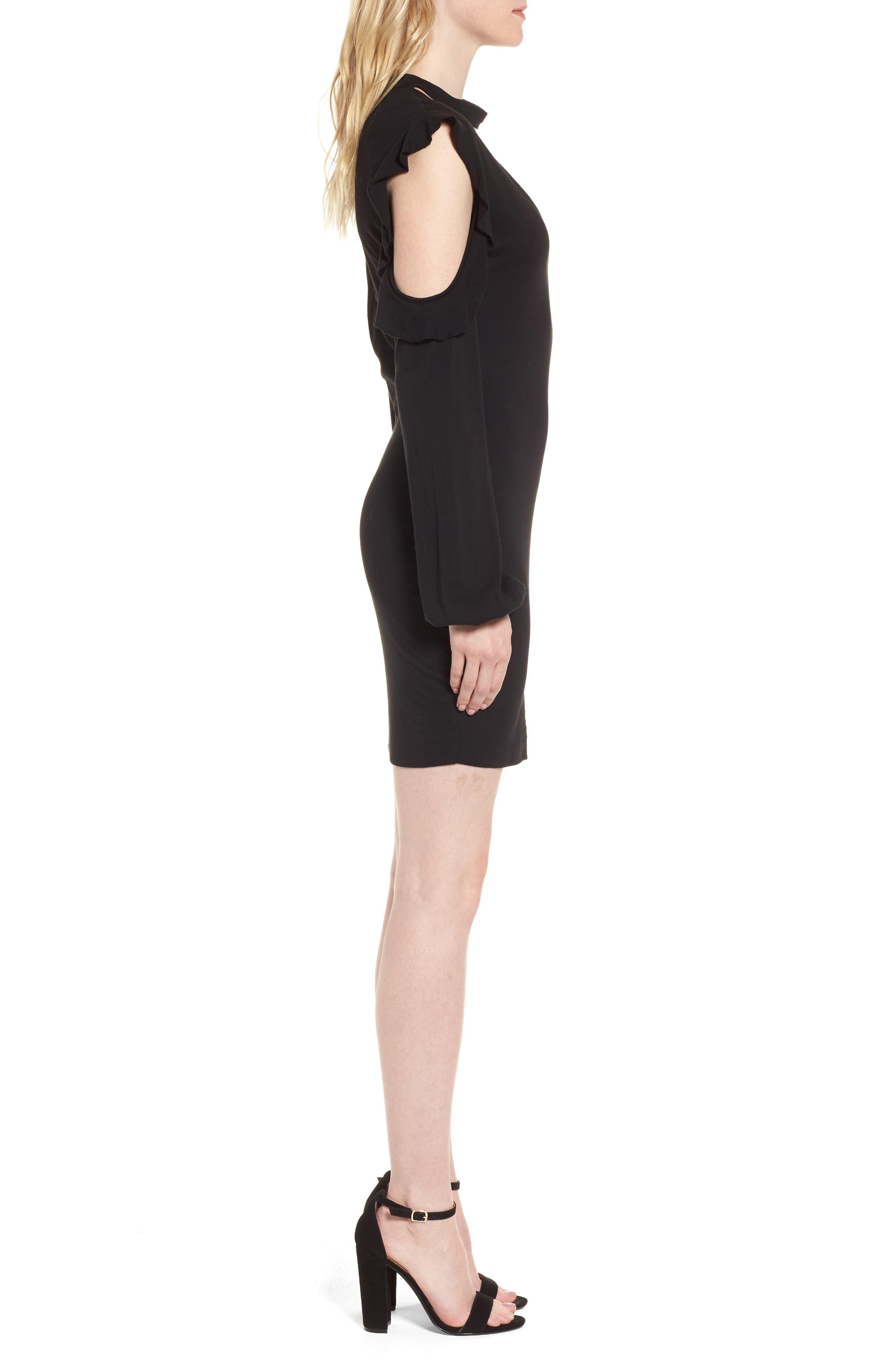 Cold Shoulder Sheath Dress,                             Alternate thumbnail 3, color,                             001