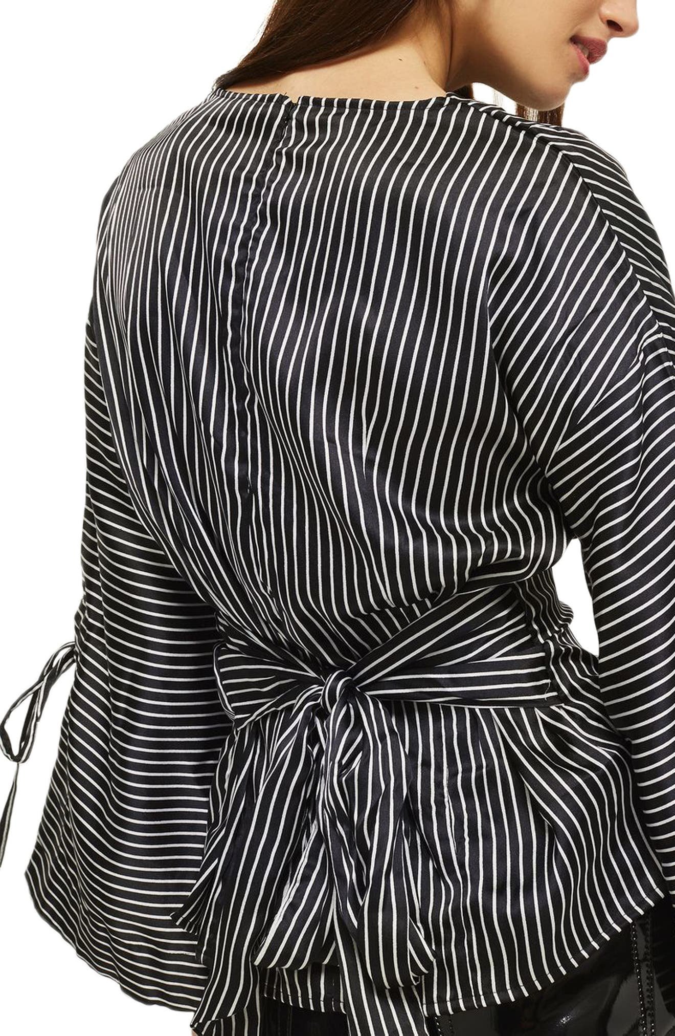 Drape Neck Twisted Stripe Blouse,                             Alternate thumbnail 2, color,                             001