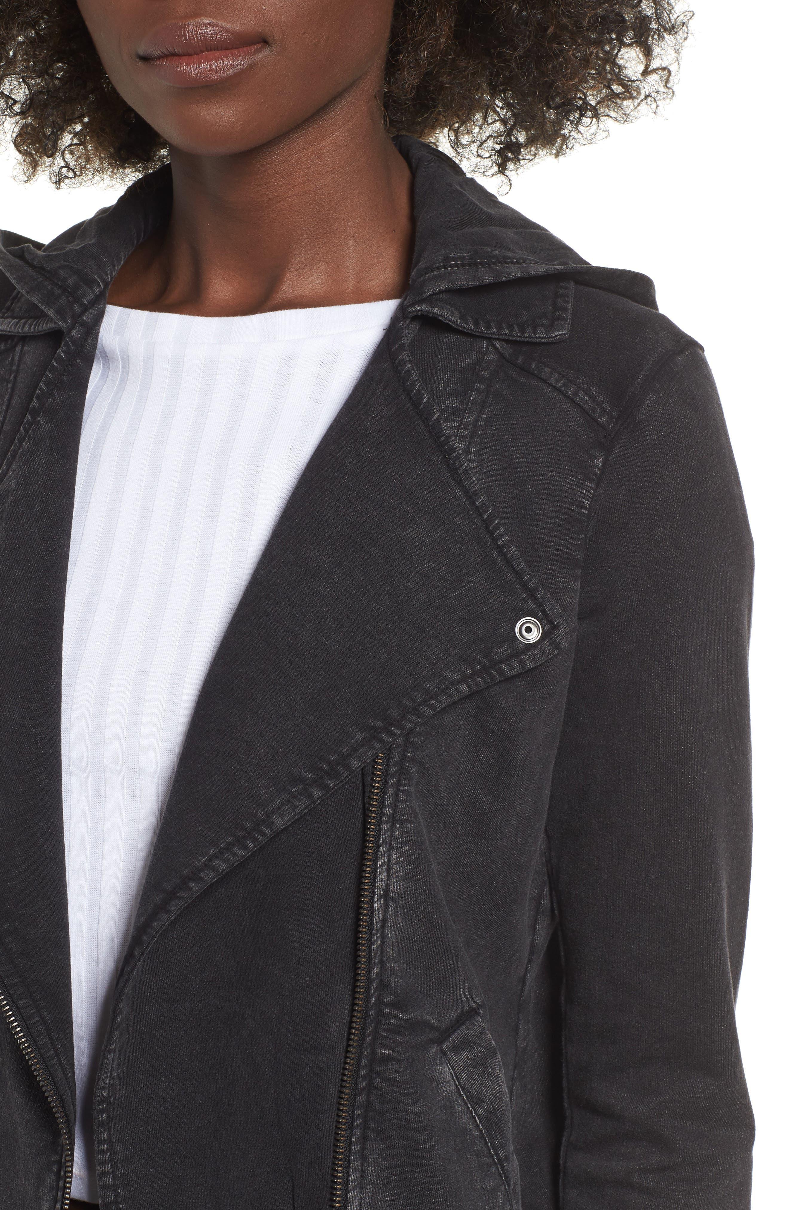 Hooded Knit Moto Jacket,                             Alternate thumbnail 4, color,                             BLACK