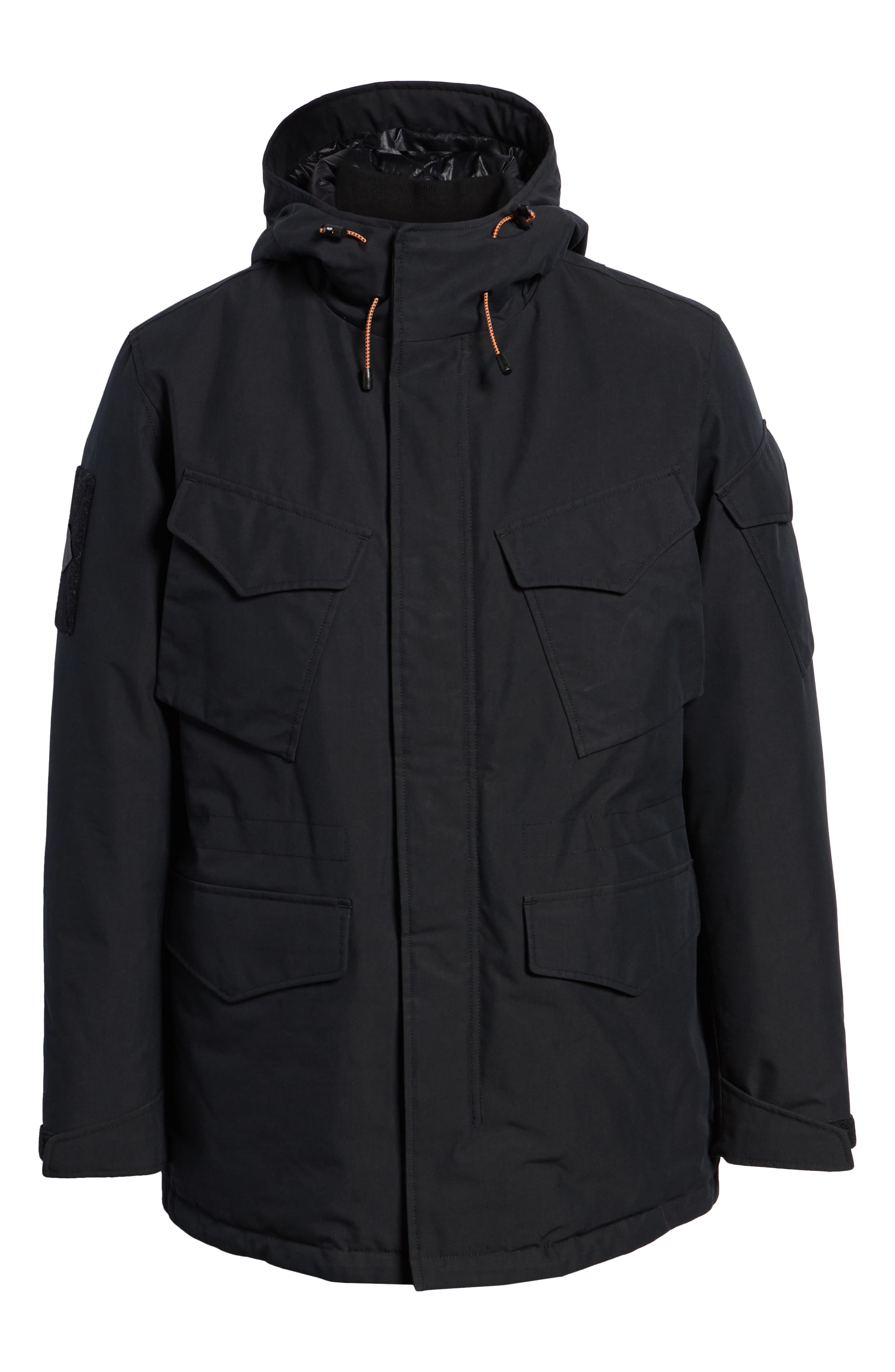 Regular Fit Surplus Down Jacket,                             Alternate thumbnail 6, color,                             BLACK
