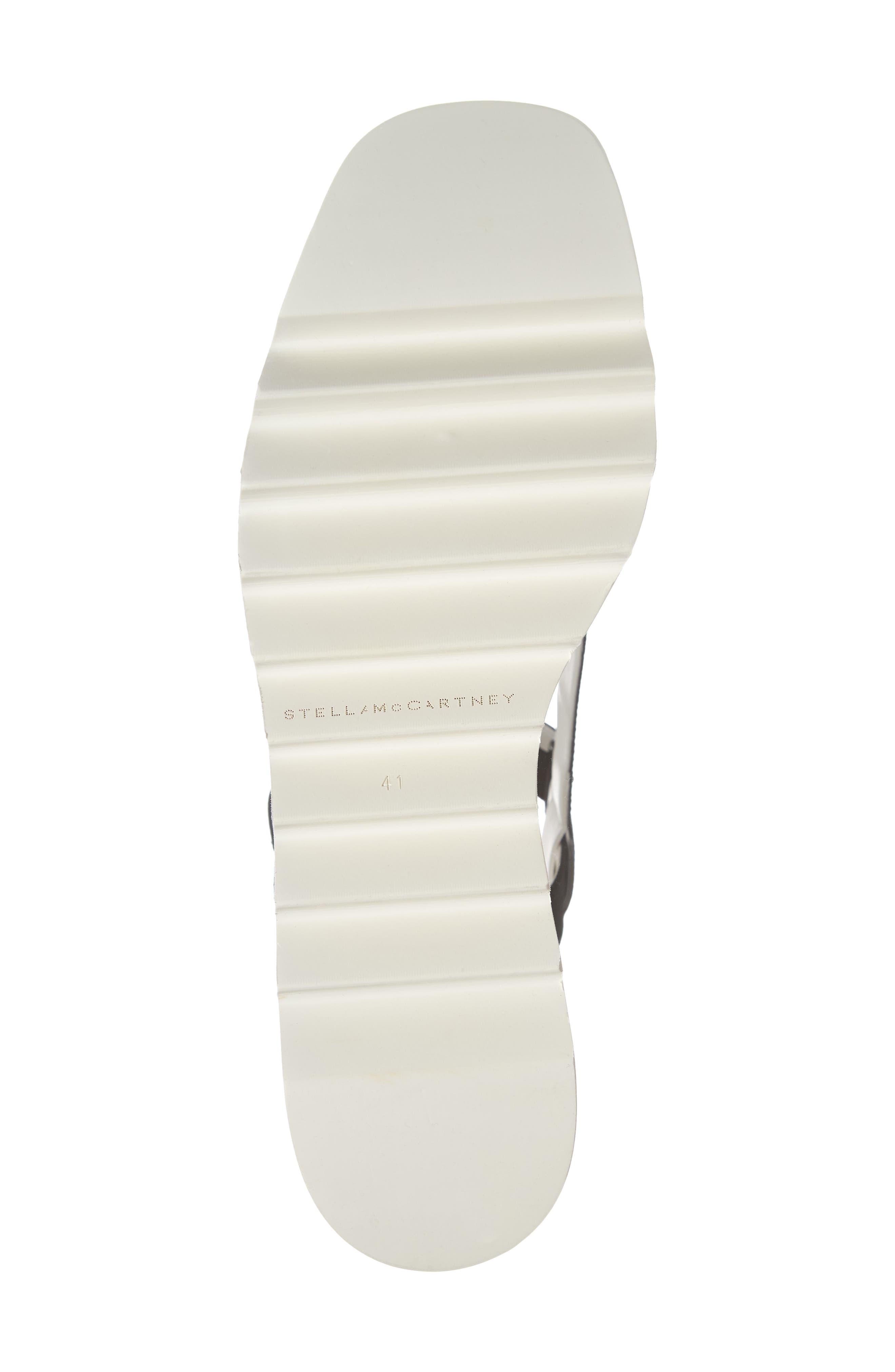 Stripe Logo Platform Sandal,                             Alternate thumbnail 6, color,                             BLACK/ WHITE