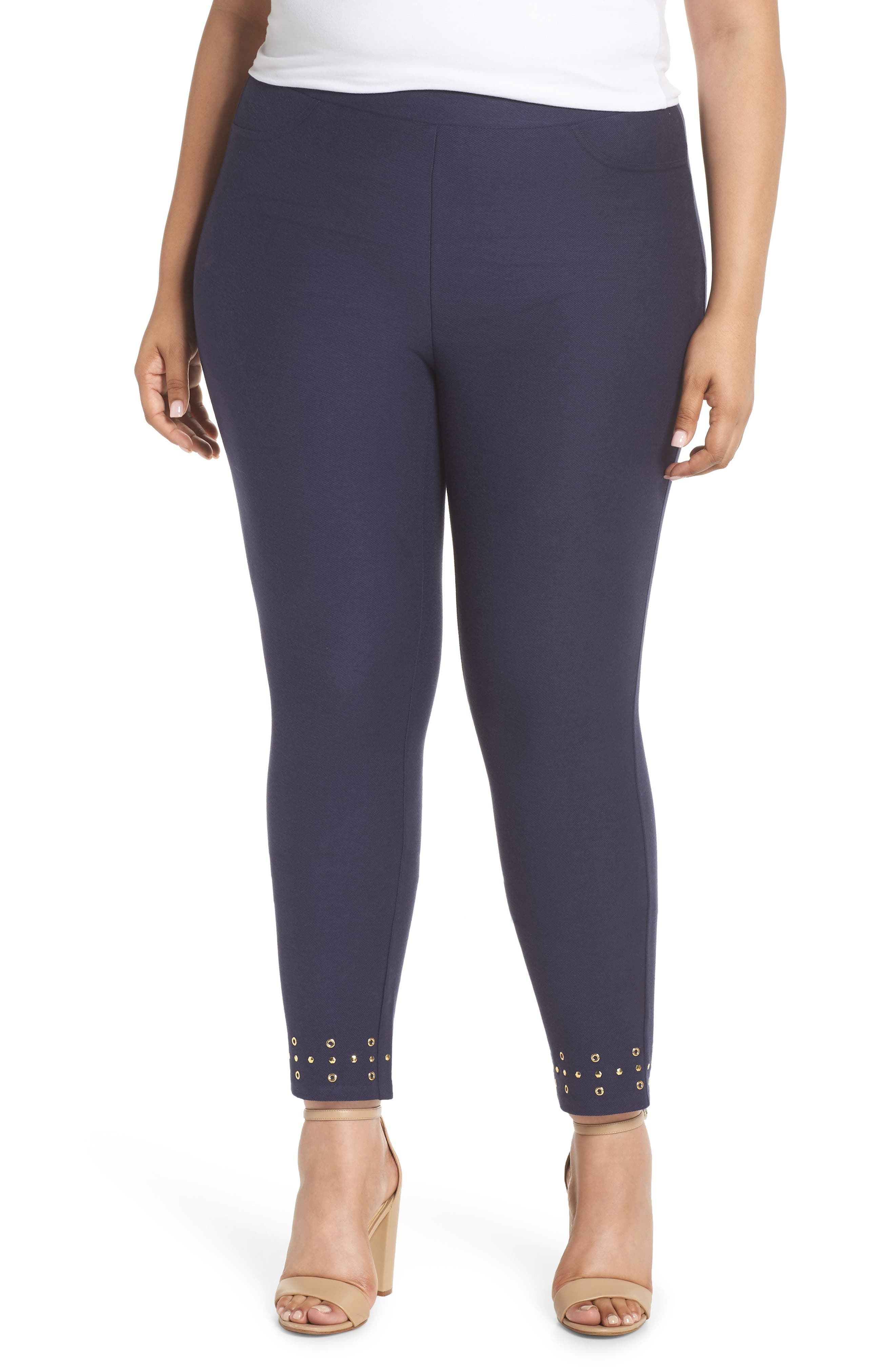 Embellished Cuff Leggings,                         Main,                         color, TRUE NAVY