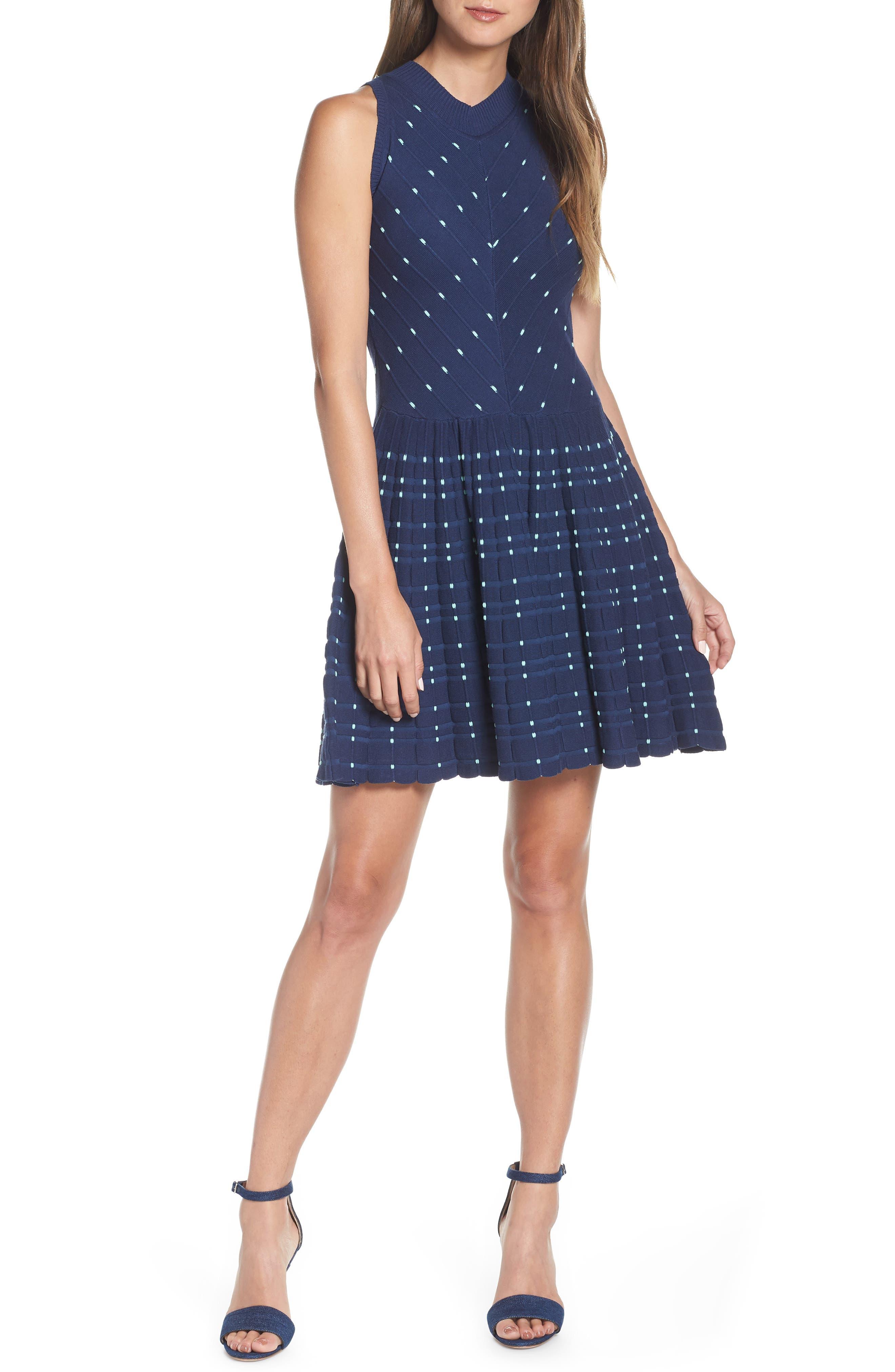 Adelyn Rae Skye Fit & Flare Sweater Dress, Blue