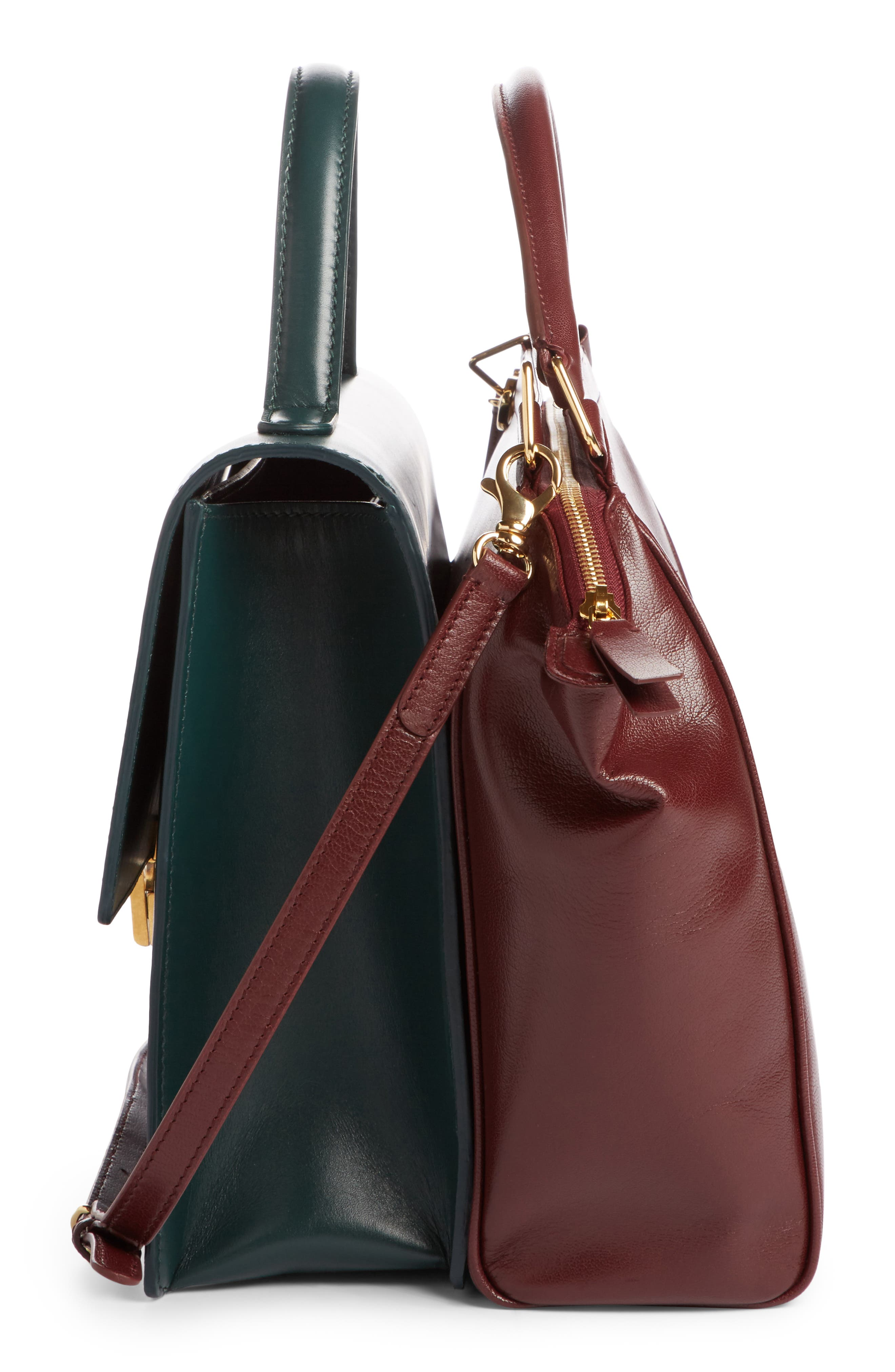 Collage Double Calfskin Leather Bag,                             Alternate thumbnail 3, color,                             641
