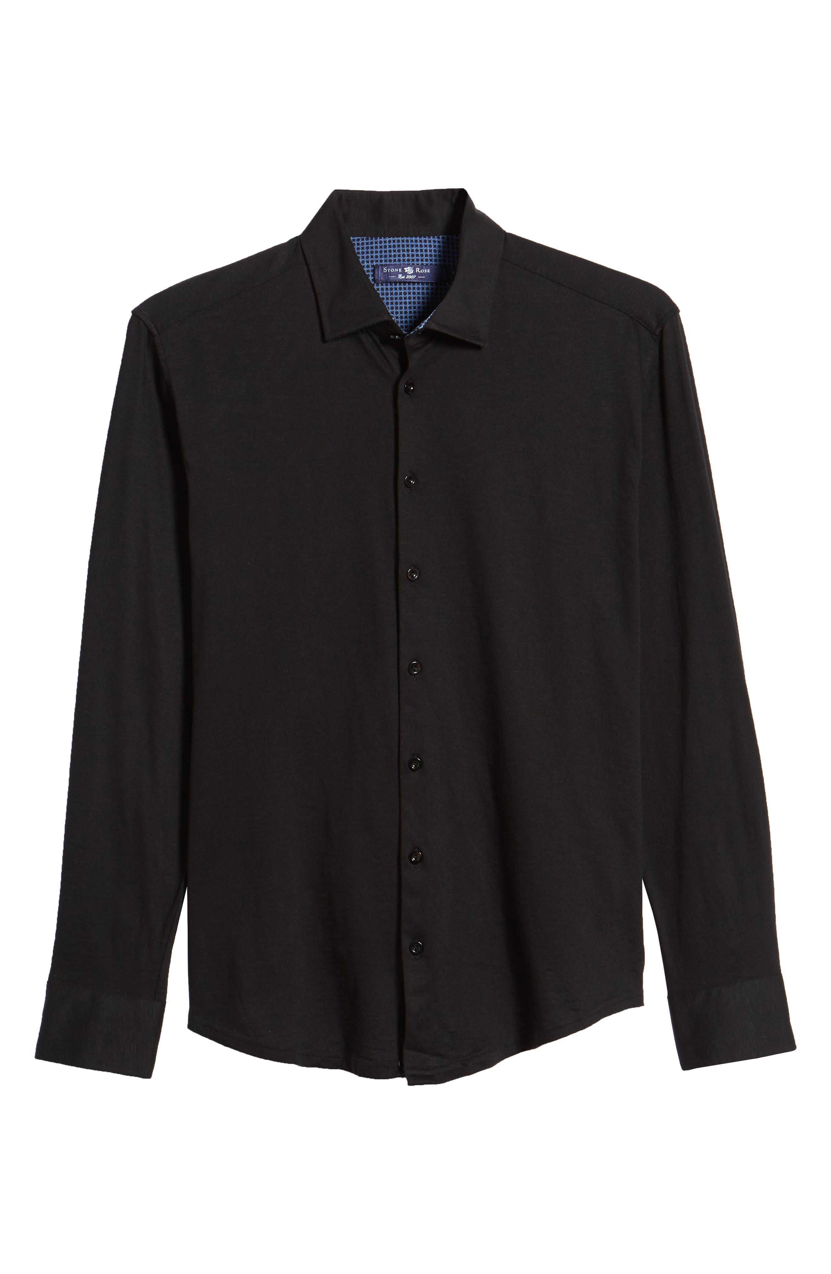 Flame Contemporary Fit Sport Shirt,                             Alternate thumbnail 6, color,                             BLACK