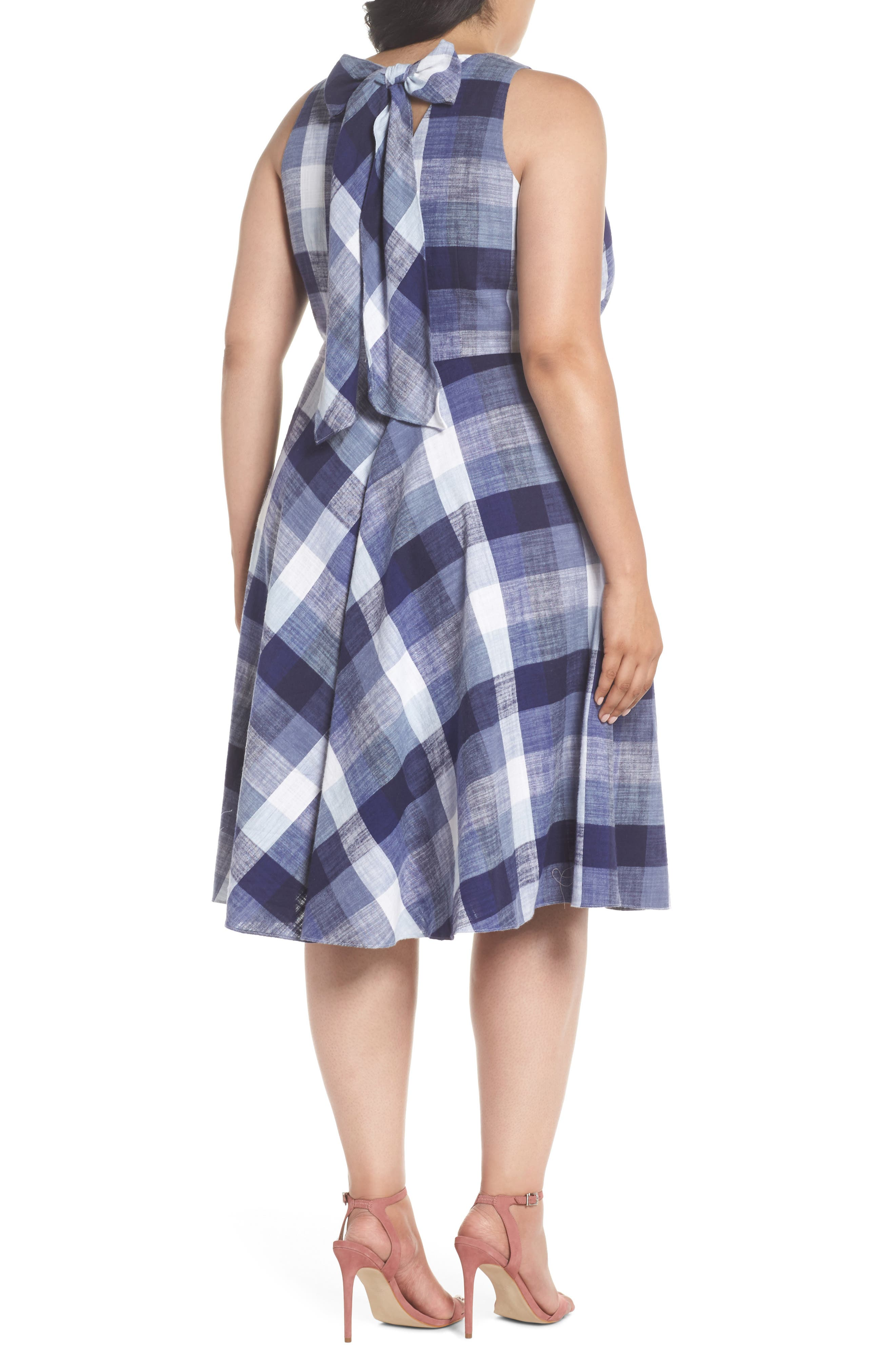 Check Fit & Flare Dress,                             Alternate thumbnail 2, color,                             410