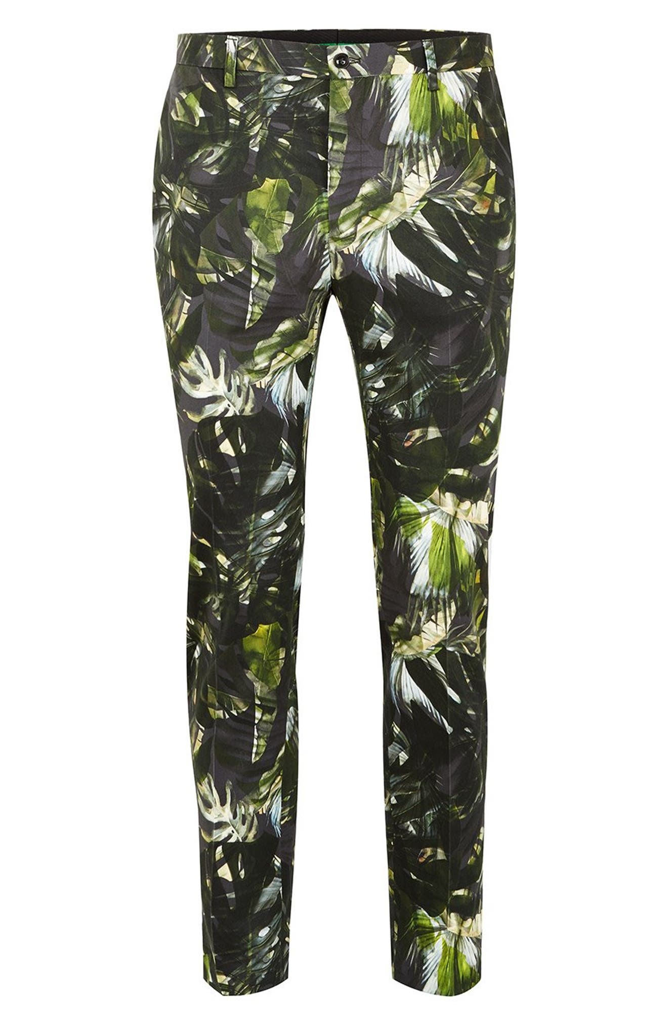 Palm Print Ultra Skinny Smart Pants,                             Alternate thumbnail 4, color,                             300