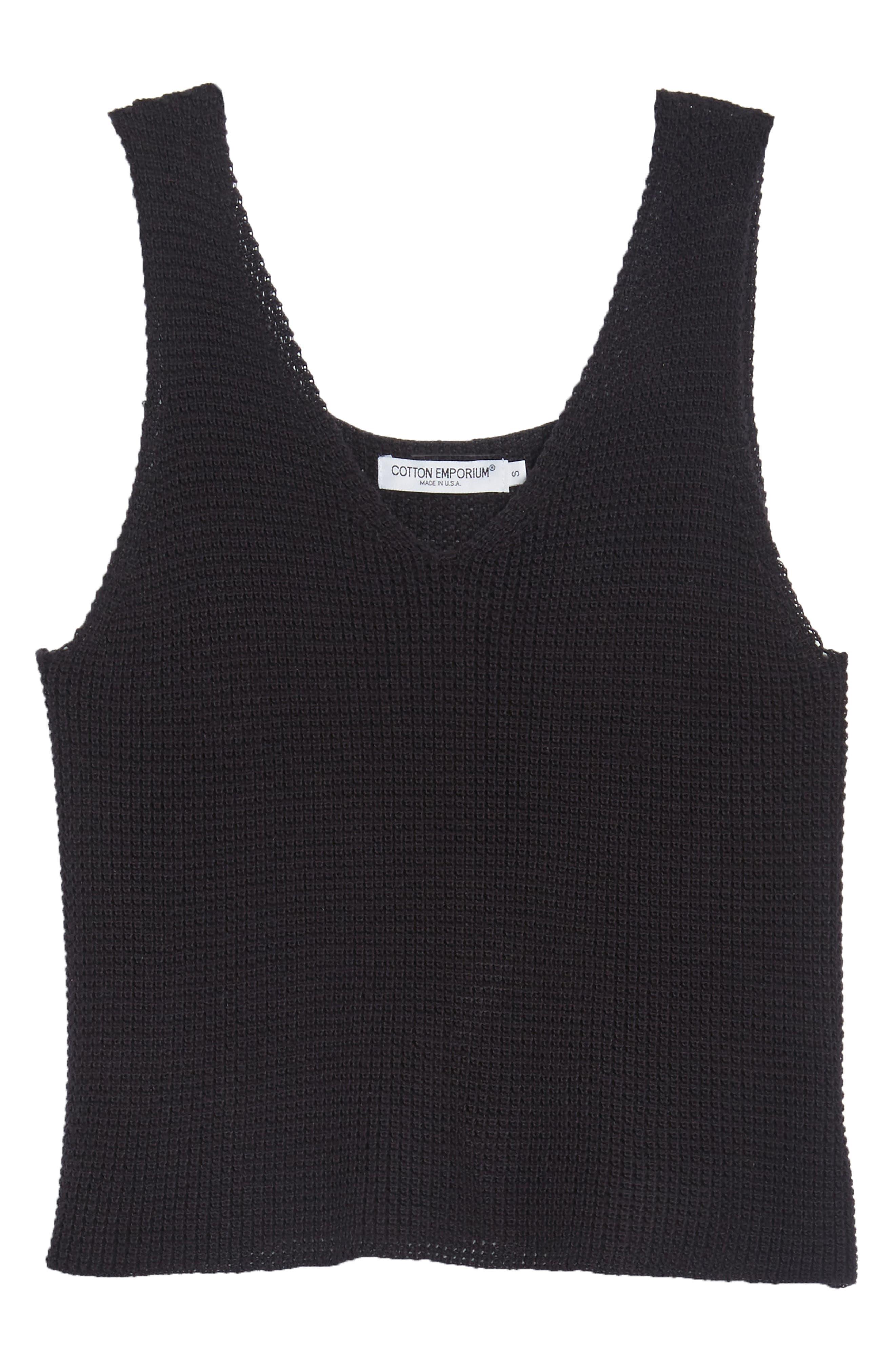 COTTON EMPORIUM,                             Sweater Tank Top,                             Alternate thumbnail 7, color,                             001