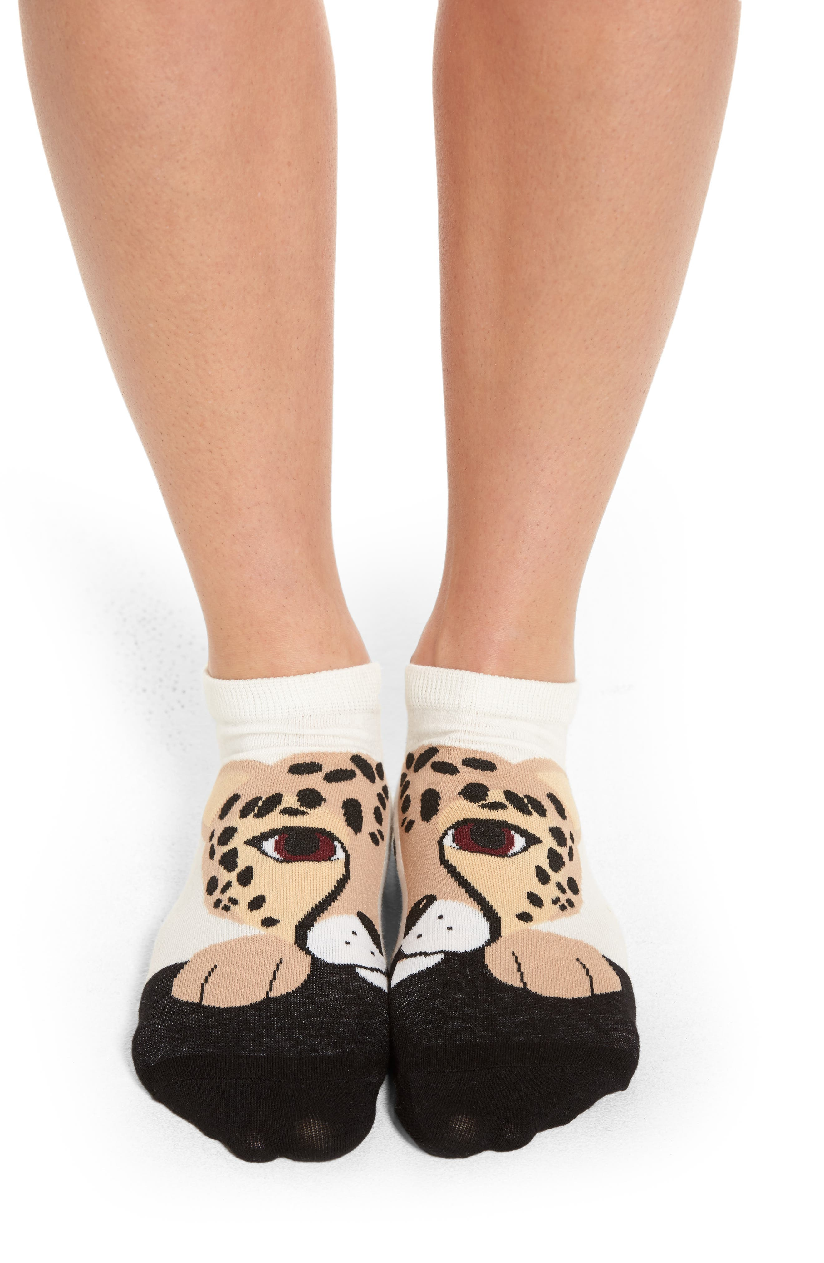 cheetah no-show socks,                             Alternate thumbnail 3, color,