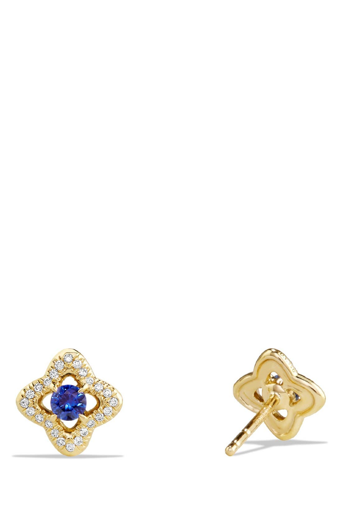'Venetian Quatrefoil' Earrings with Precious Stones and Diamonds in 18K Gold,                             Alternate thumbnail 3, color,                             BLUE SAPPHIRE