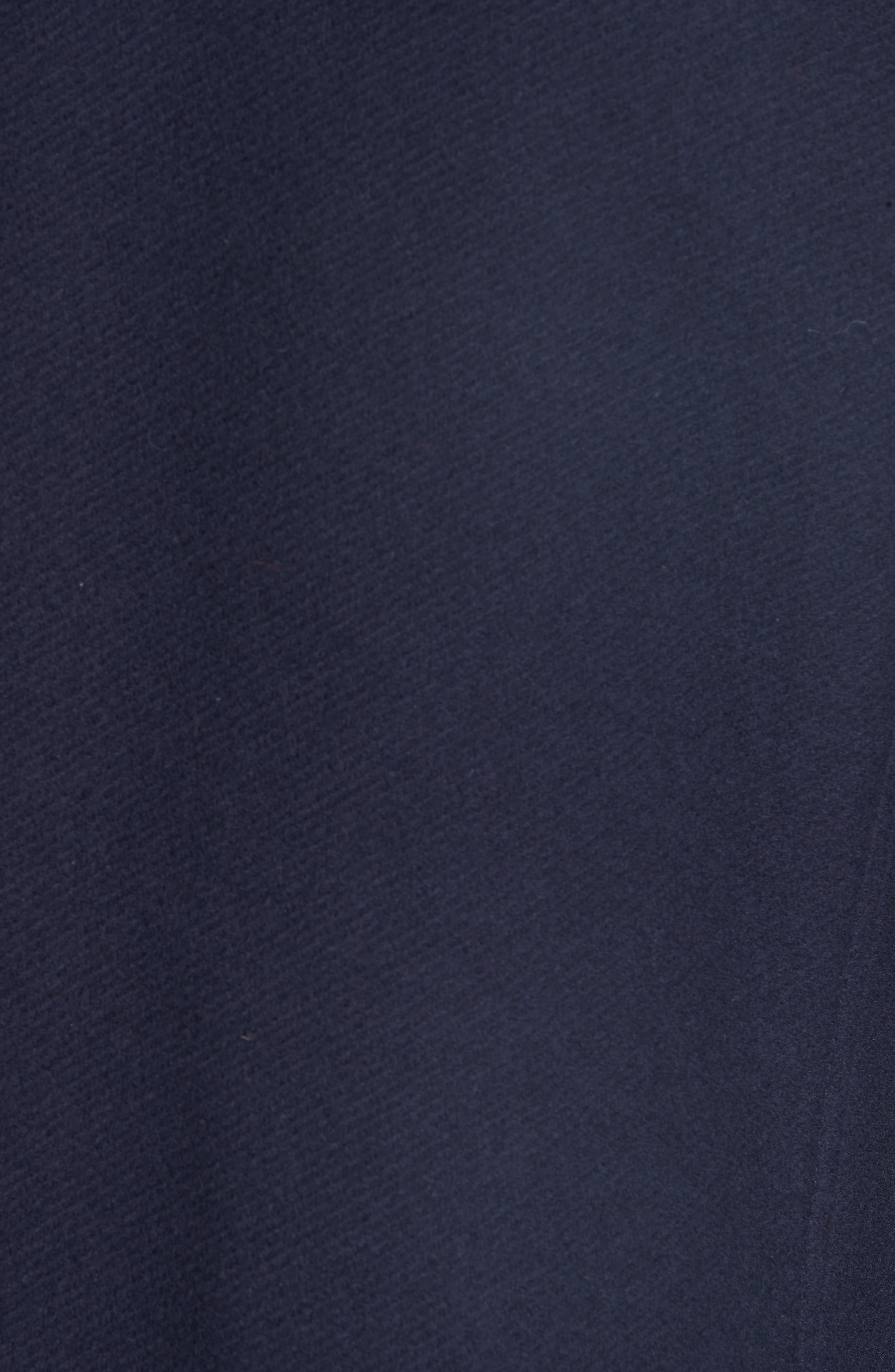 Genuine Beaver Fur Collar Wool Blend Coat,                             Alternate thumbnail 6, color,                             NAVY