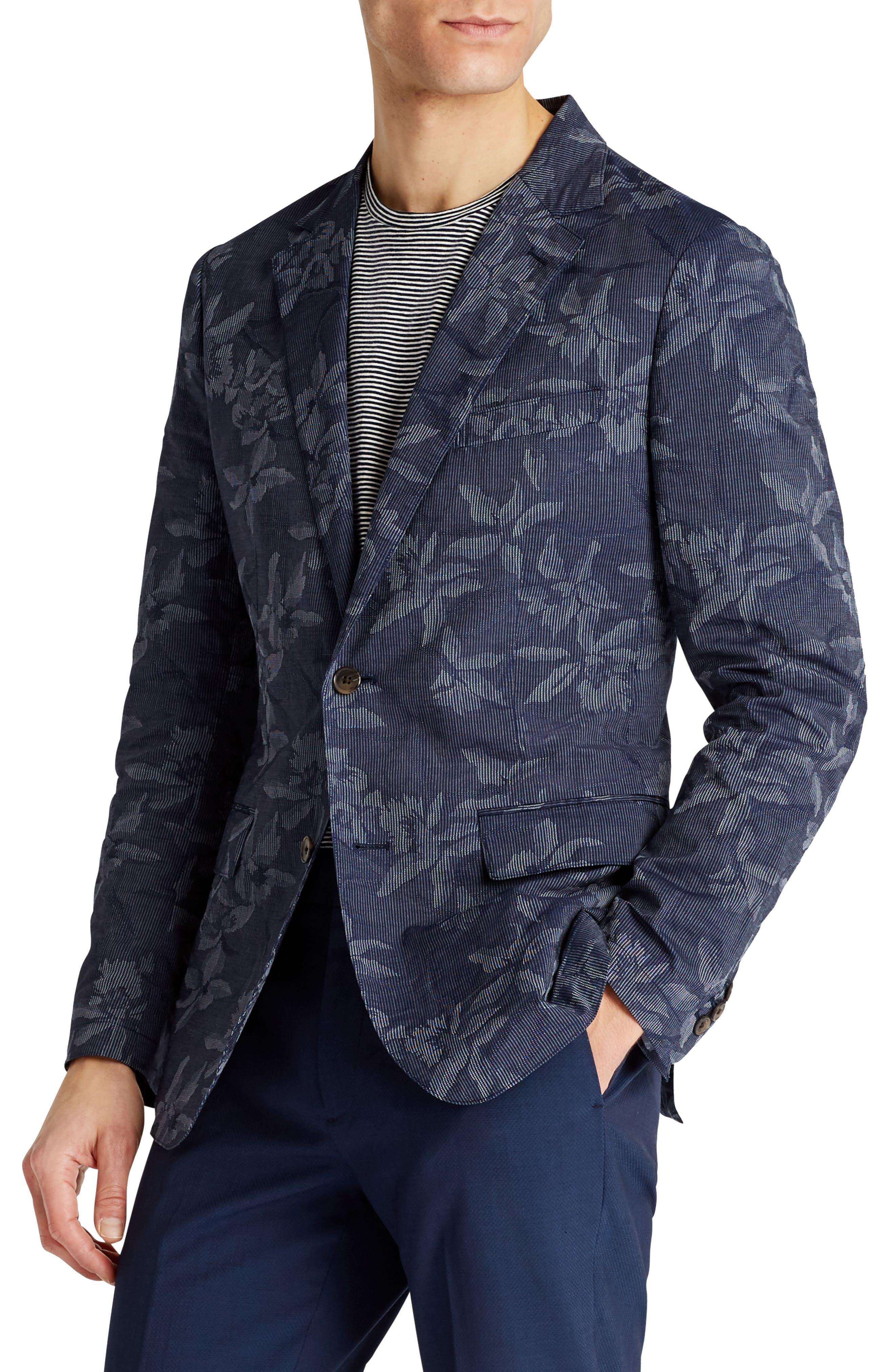 Slim Fit Floral Cotton Blend Sport Coat,                             Alternate thumbnail 3, color,                             420