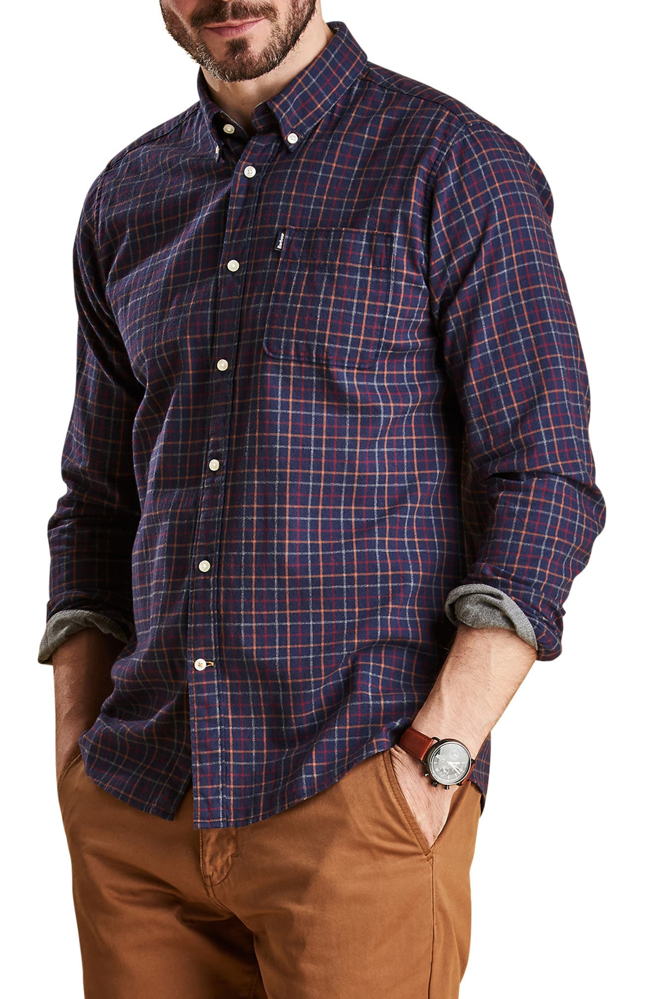 Endsleigh Tattersall Cotton Flannel Shirt,                             Alternate thumbnail 4, color,                             410