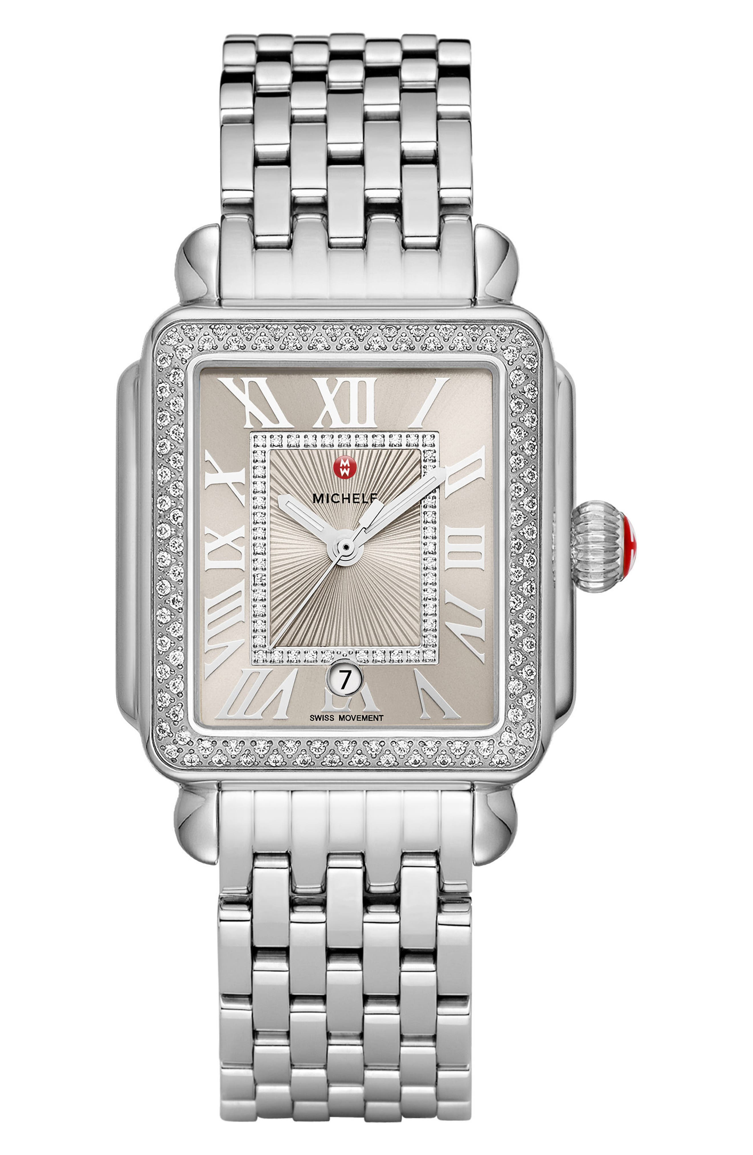 Deco Madison Diamond Dial Watch Case, 33mm x 35mm,                             Alternate thumbnail 3, color,                             SILVER/ CASHMERE/ SILVER