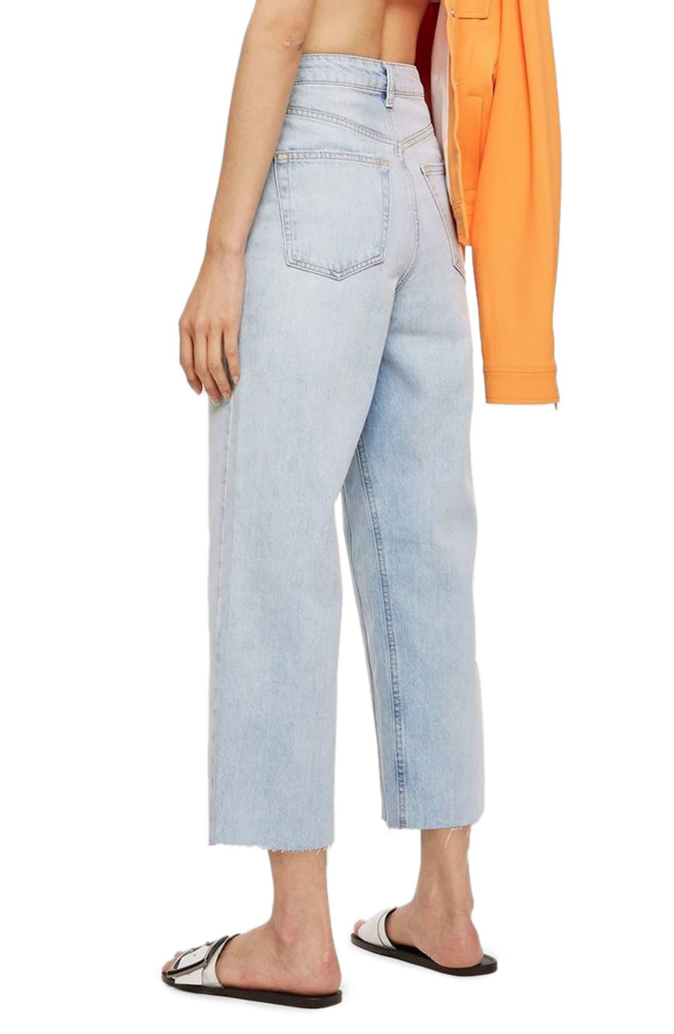 TOPSHOP,                             MOTO Wide Leg Crop Non-Stretch Jeans,                             Alternate thumbnail 2, color,                             450