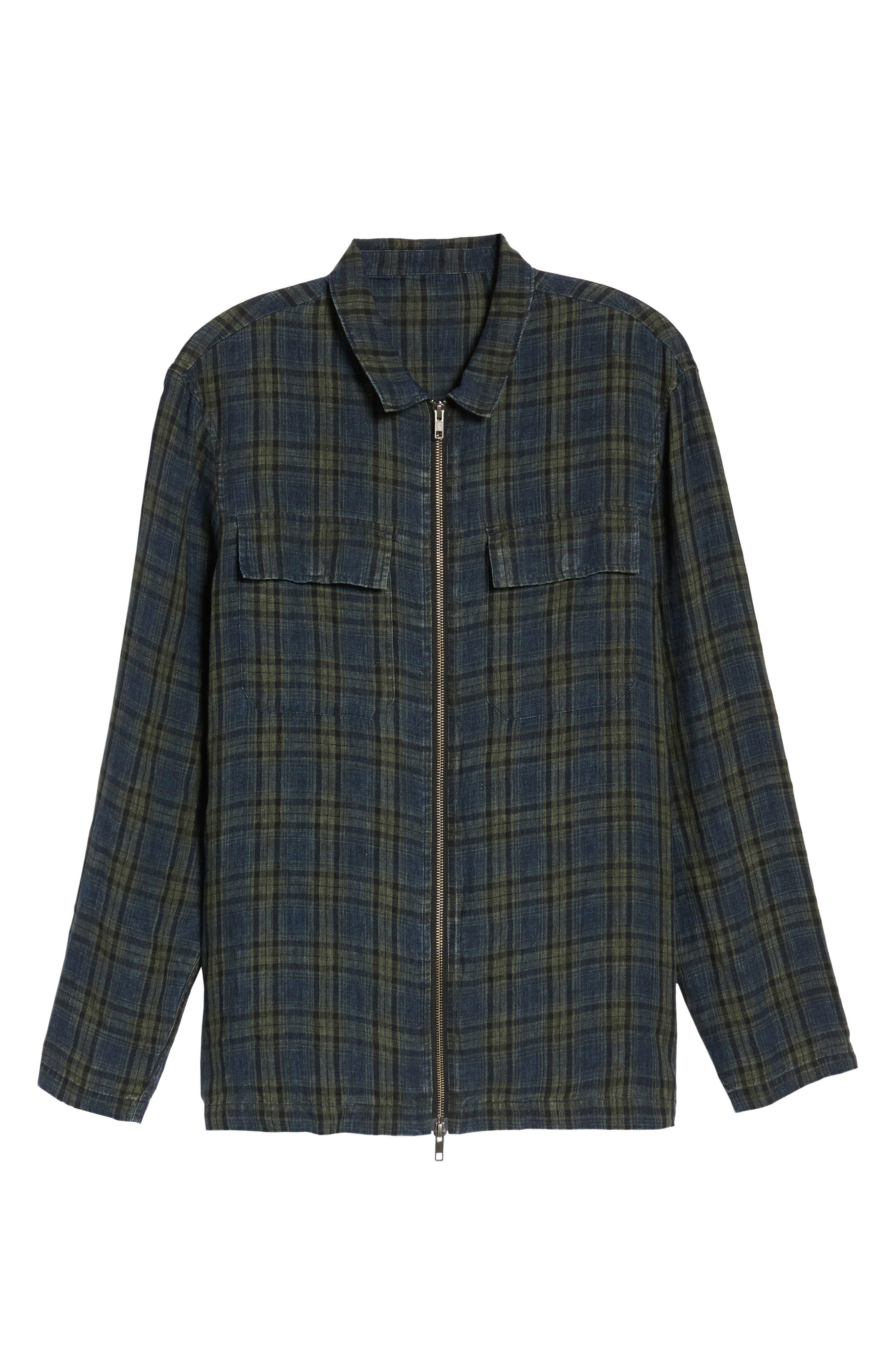 Plaid Zip Front Linen Shirt Jacket,                             Alternate thumbnail 5, color,                             315