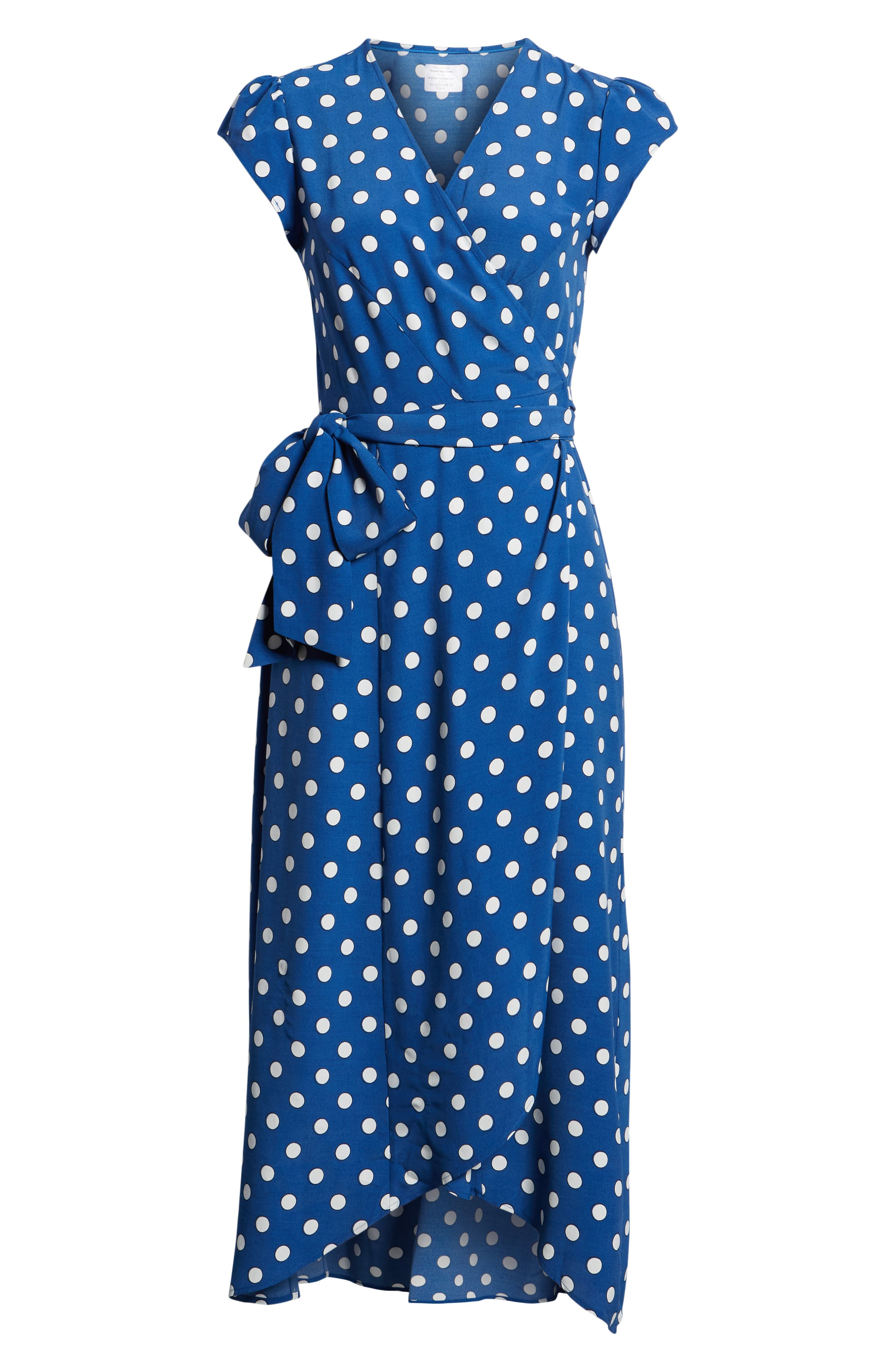 Polka Dot Wrap Dress,                             Alternate thumbnail 7, color,