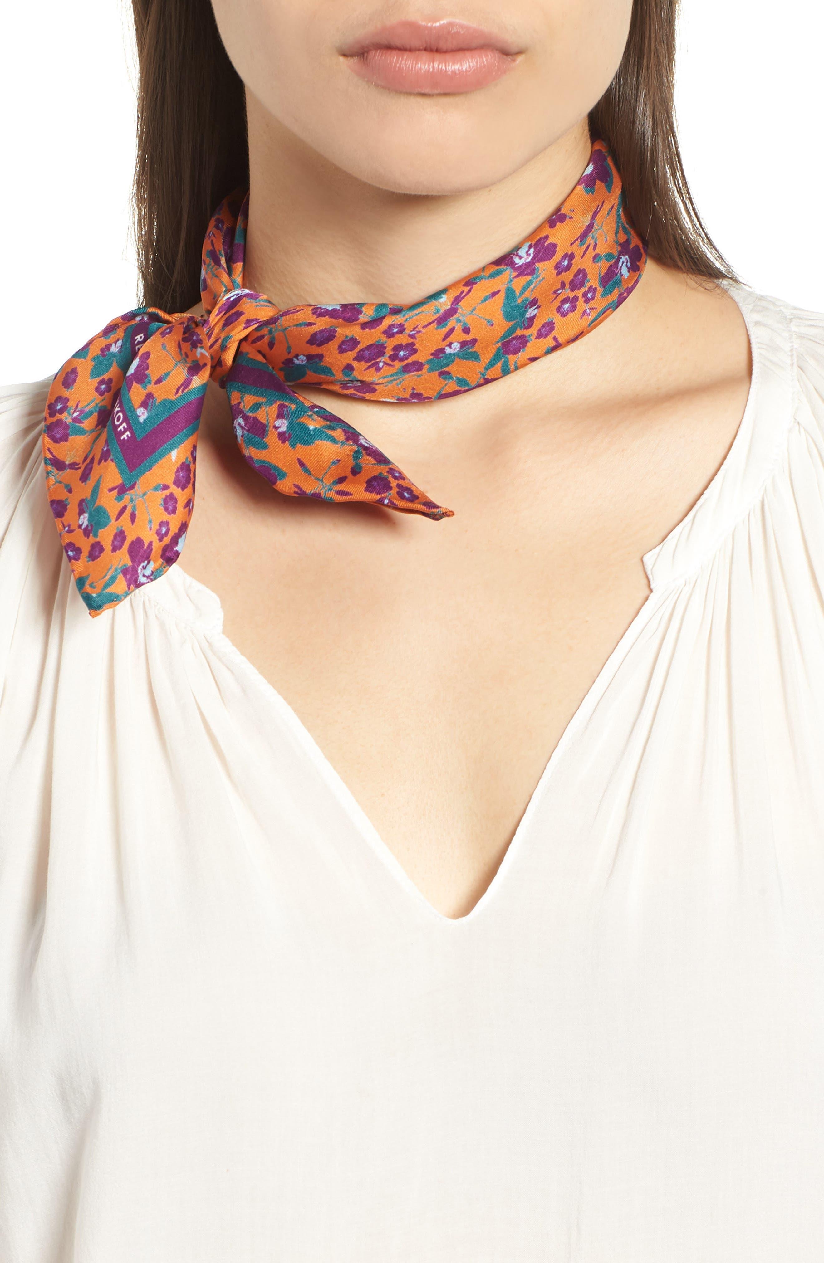 Liberation Floral Silk Bandana,                         Main,                         color, RUST